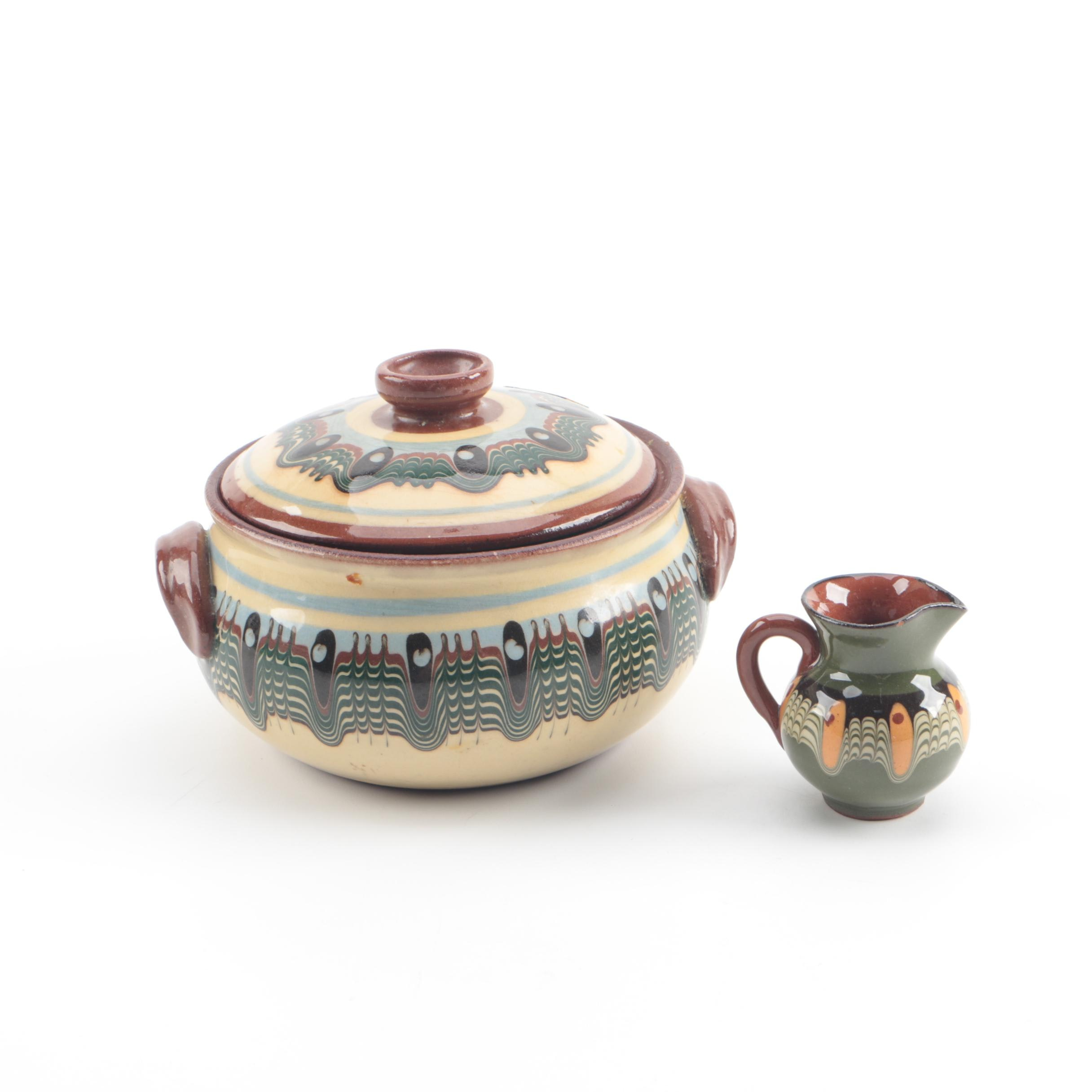 Bulgarian Hand-Painted Earthenware Covered Dish and Miniature Pitcher for Bulgar