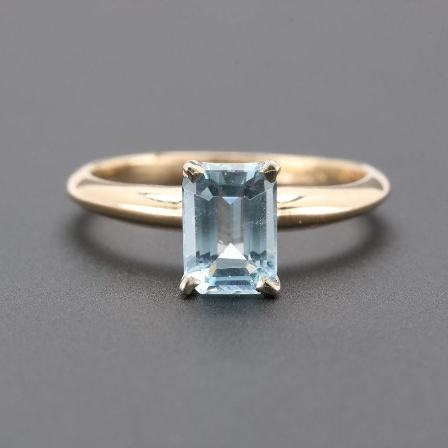 a7ed80bffeccb 14K Yellow Gold Aquamarine Ring