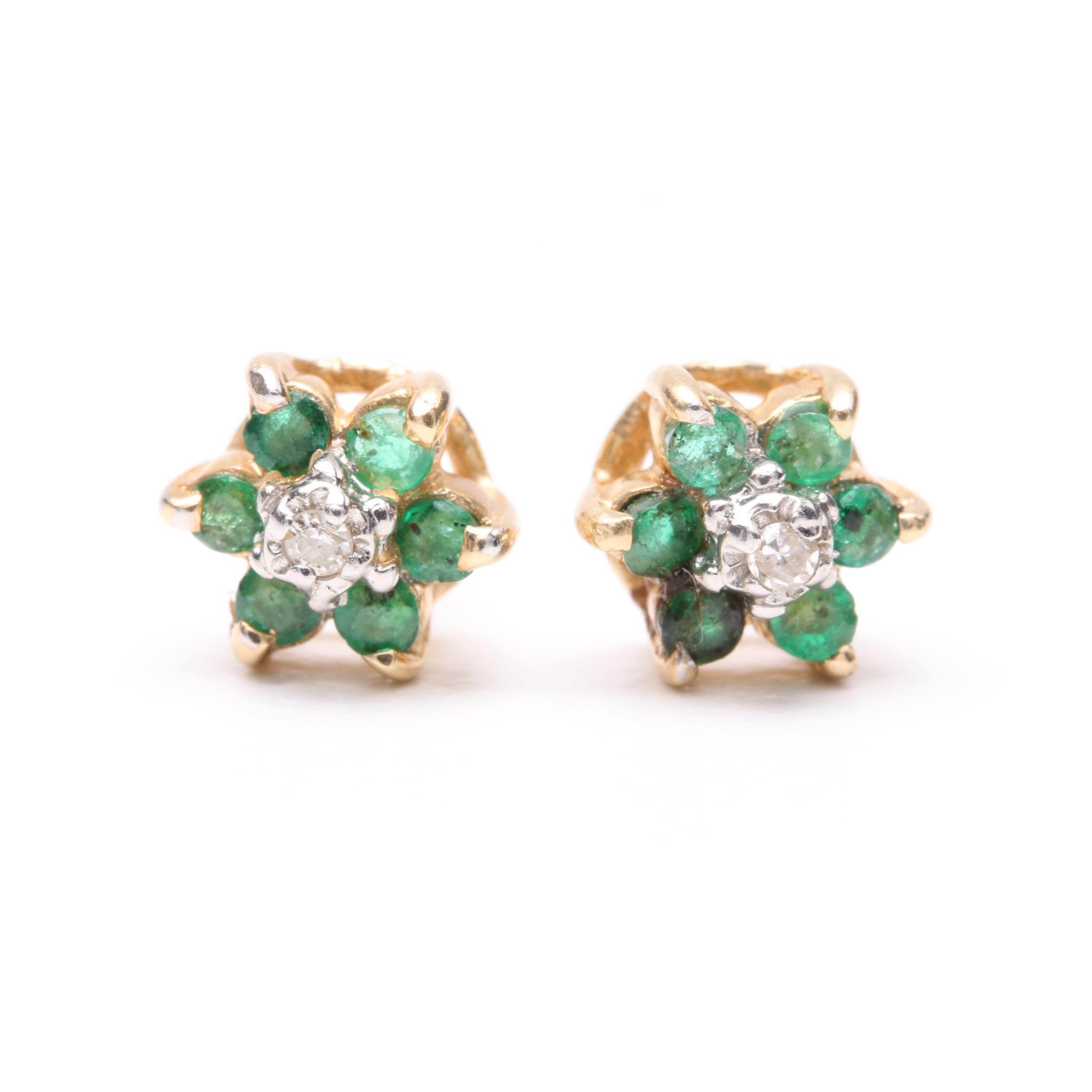 14K Yellow Gold Diamond and Emerald Earrings