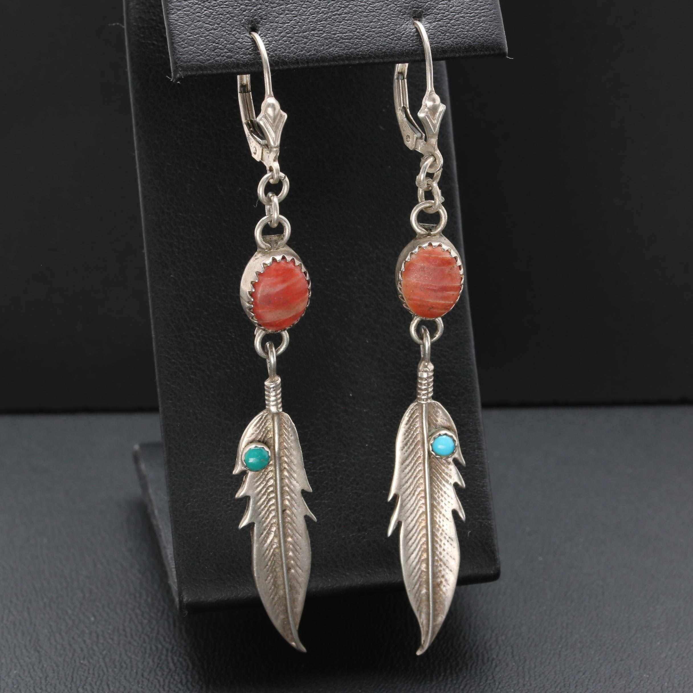 Southwestern Style Sterling Spiny Oyster, Chalcedony, and Turquoise Earrings