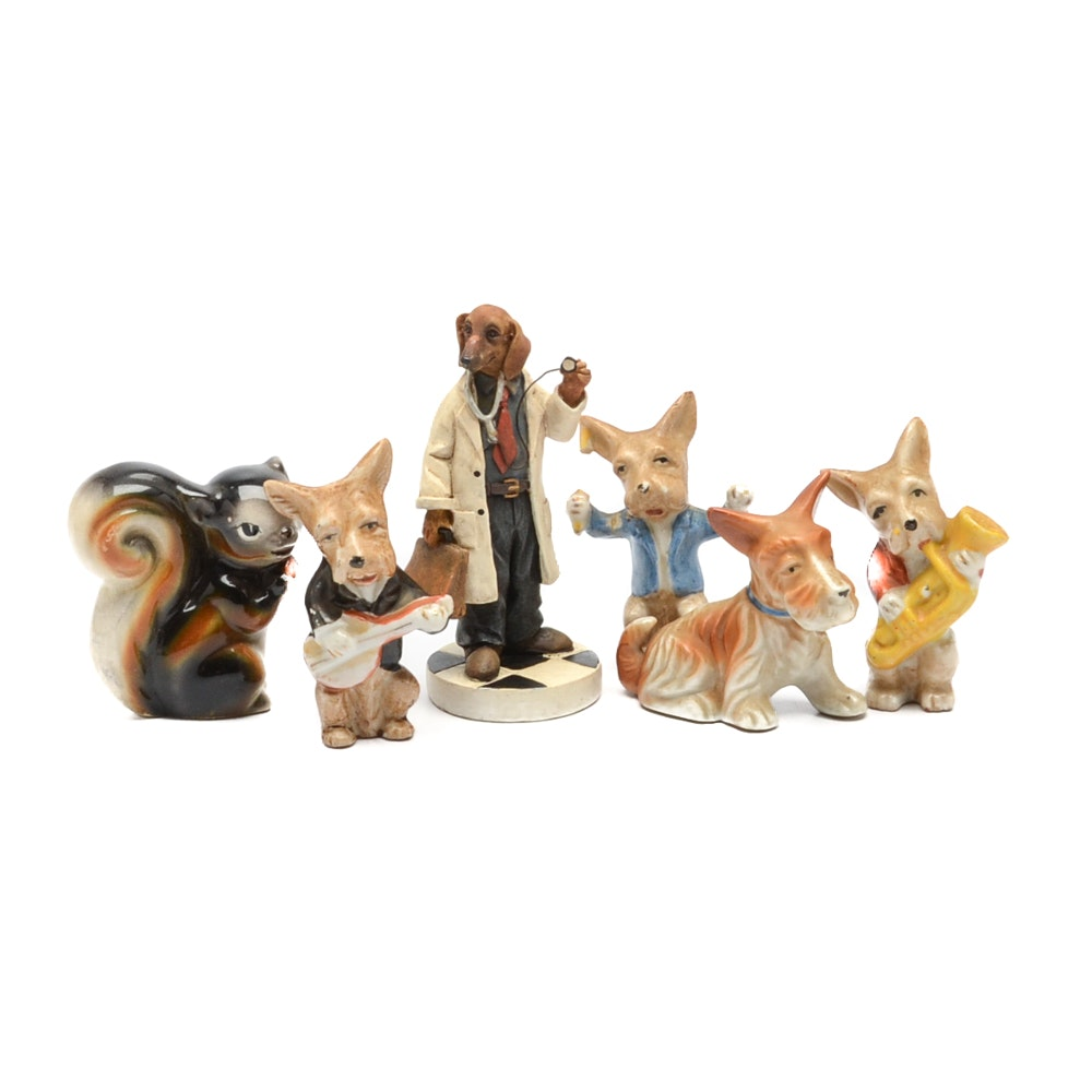 Group of Porcelain Animal Figurines including Occupied Japan