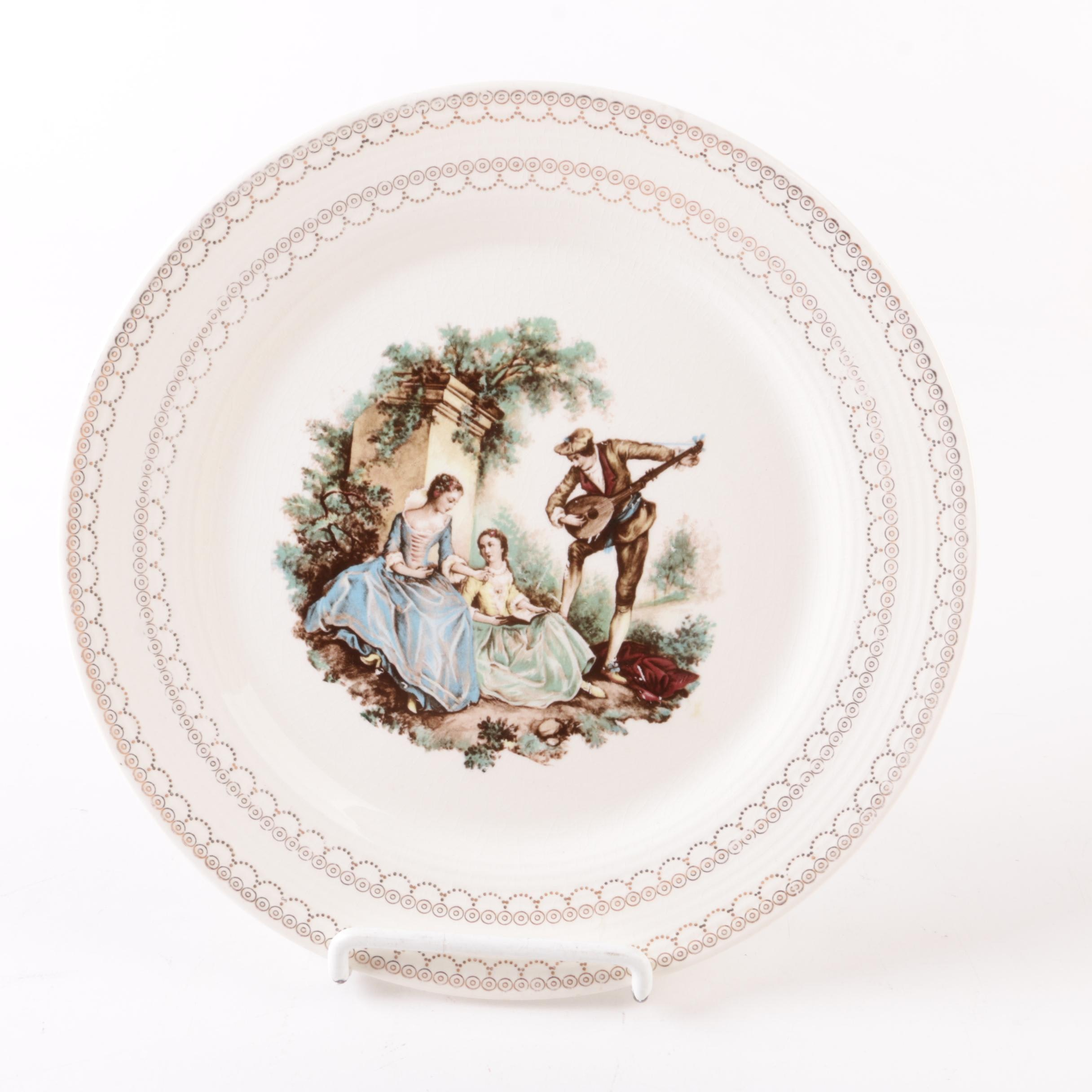 "American Limoges Sheffield Plate in ""Serenade"" with 22K Gold Trim"