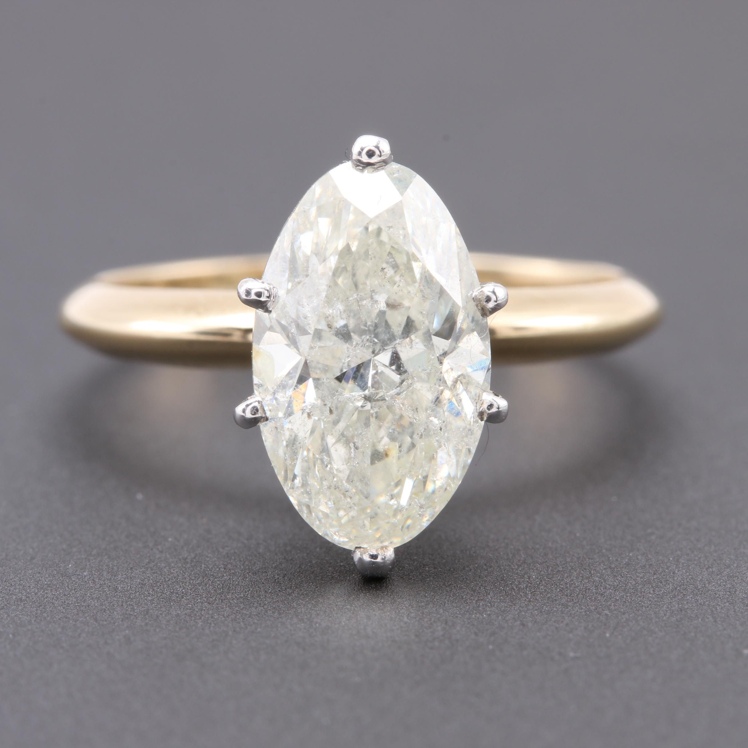 14K Yellow Gold 3.03 CT Diamond Solitaire Ring