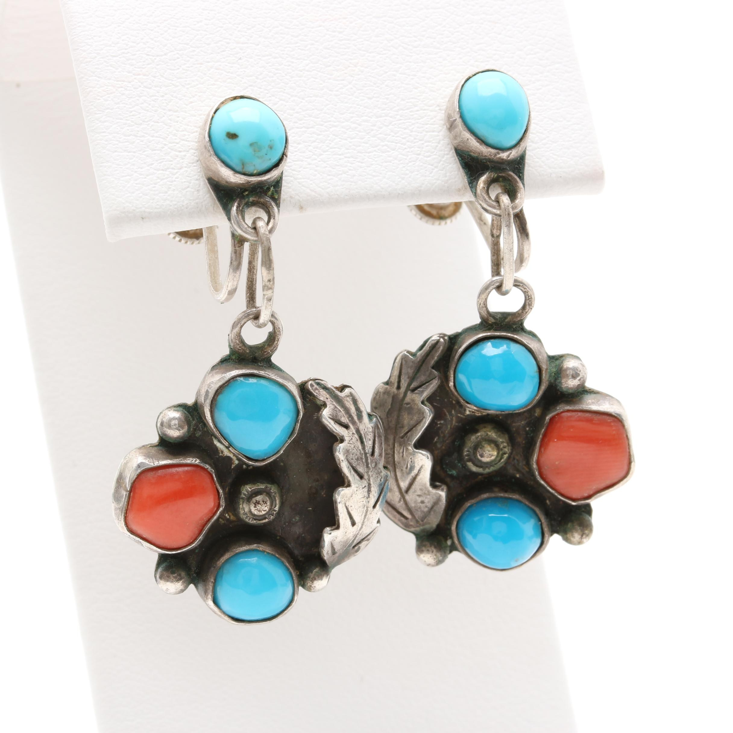 Vintage Southwest Style Sterling Silver Turquoise and Coral Earrings