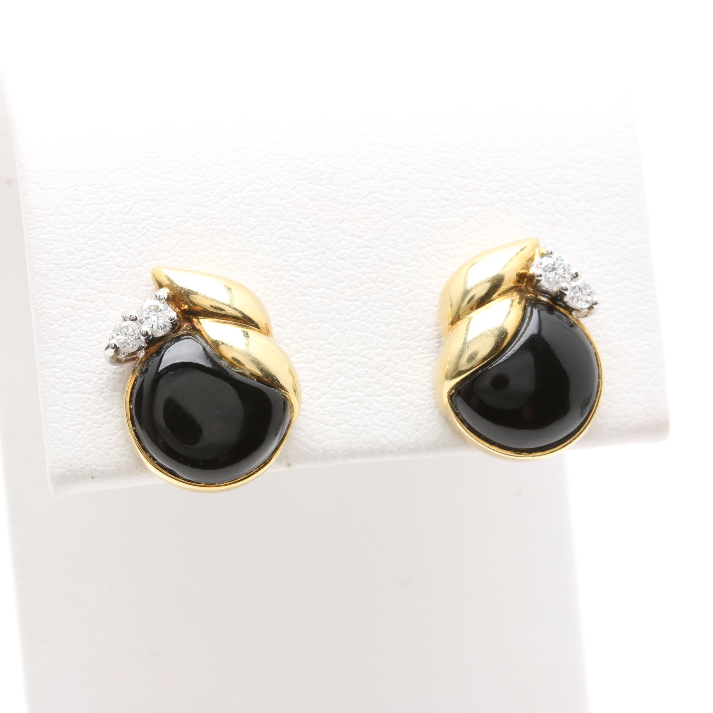 14K Yellow Gold Black Onyx and Diamond Earrings