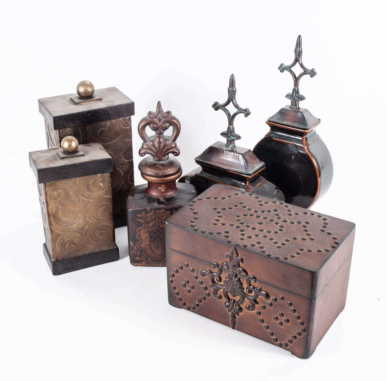Collection of Decorative Decanters and Boxes