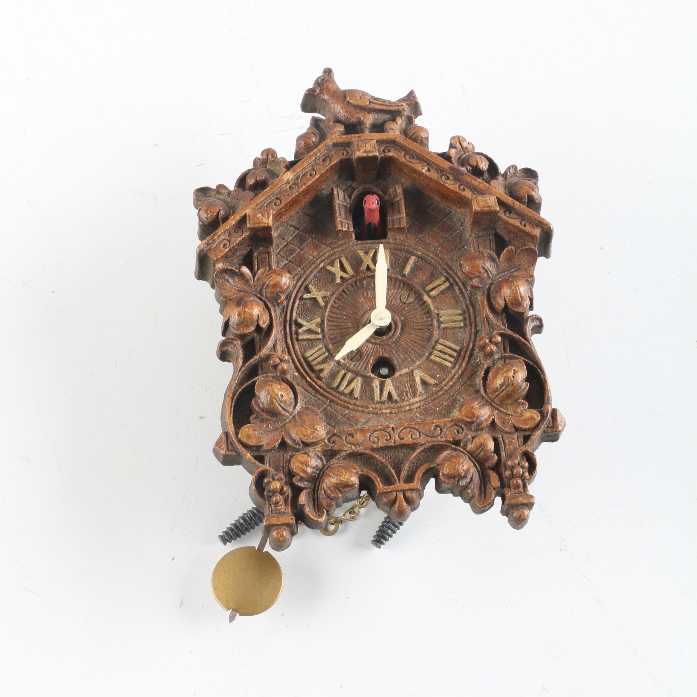 Vintage Lux Clock Miniature Cuckoo Clock