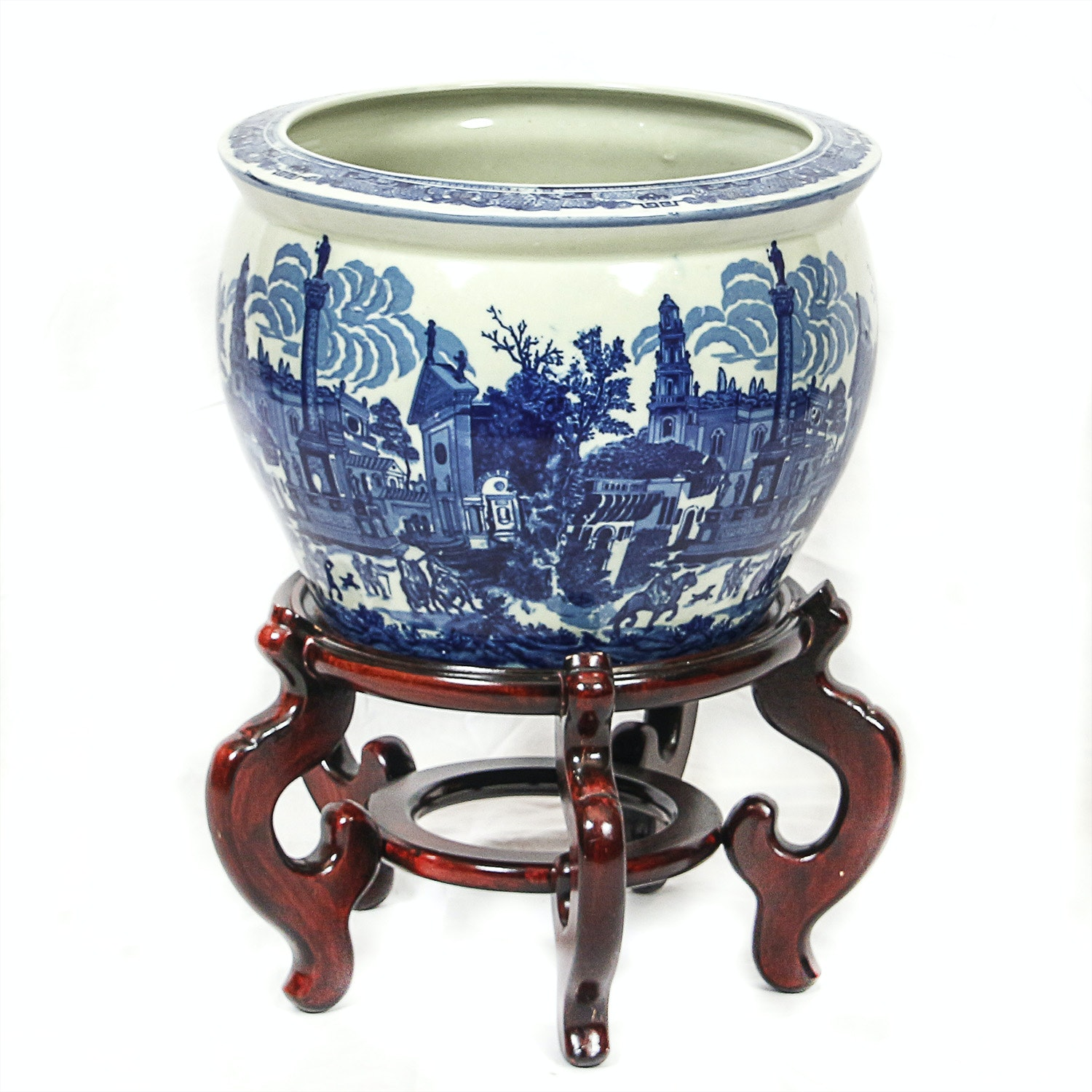 Asian Inspired Blue and White Transferware Porcelain Planter with Wooden Stand