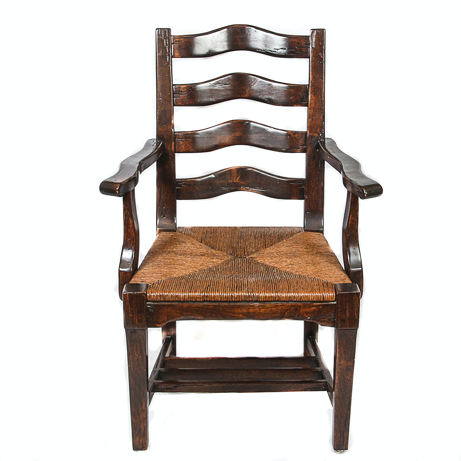 Ladder Back Armchairs with Woven Seats