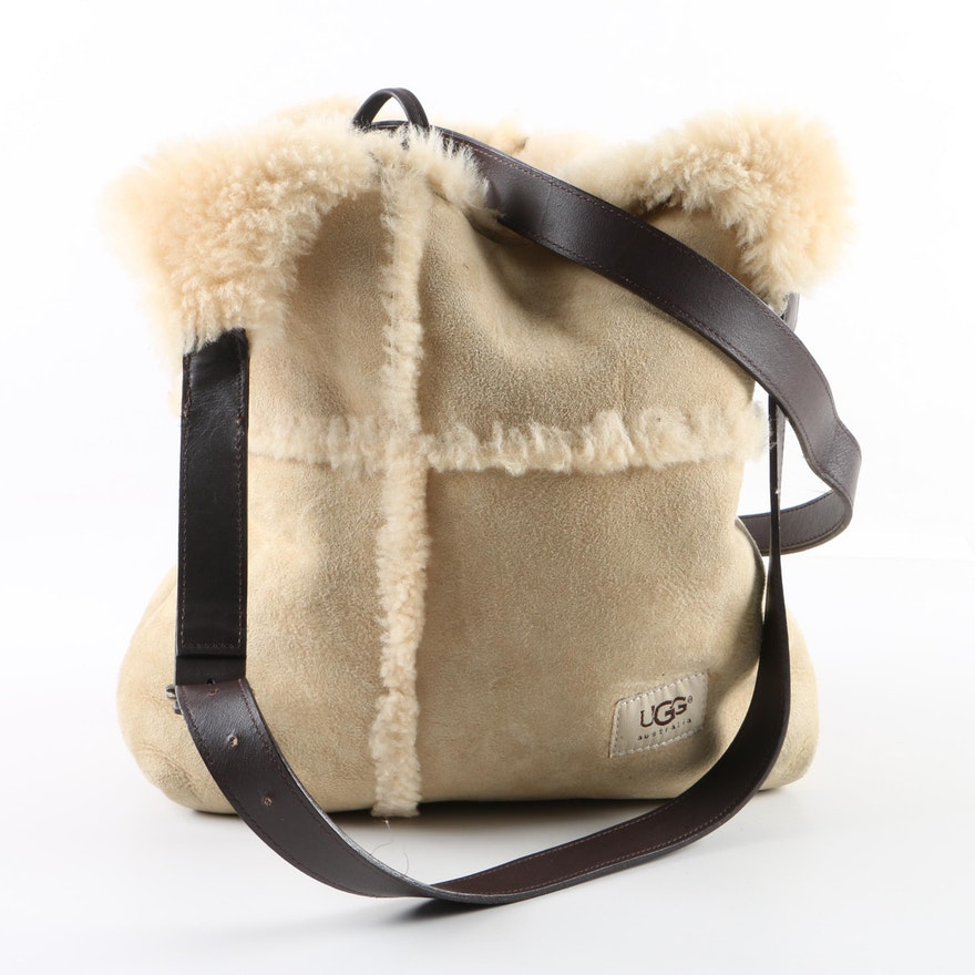 46355a57190d80 UGG Australia Sheepskin Suede and Shearling Hobo Bag with Leather Strap ...