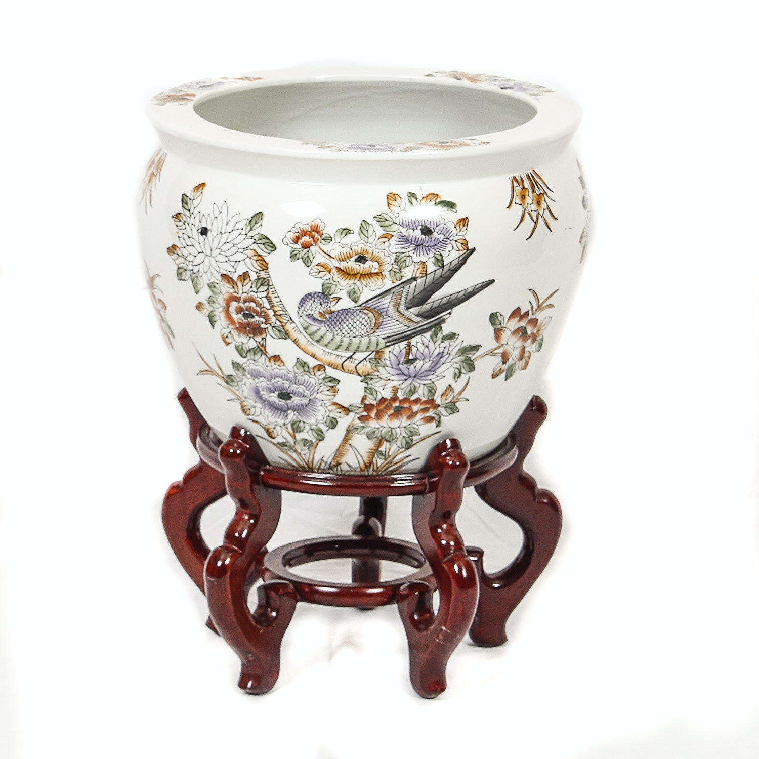 Chinese Hand-Painted Floral and Avian Themed Porcelain Planter with Wooden Stand