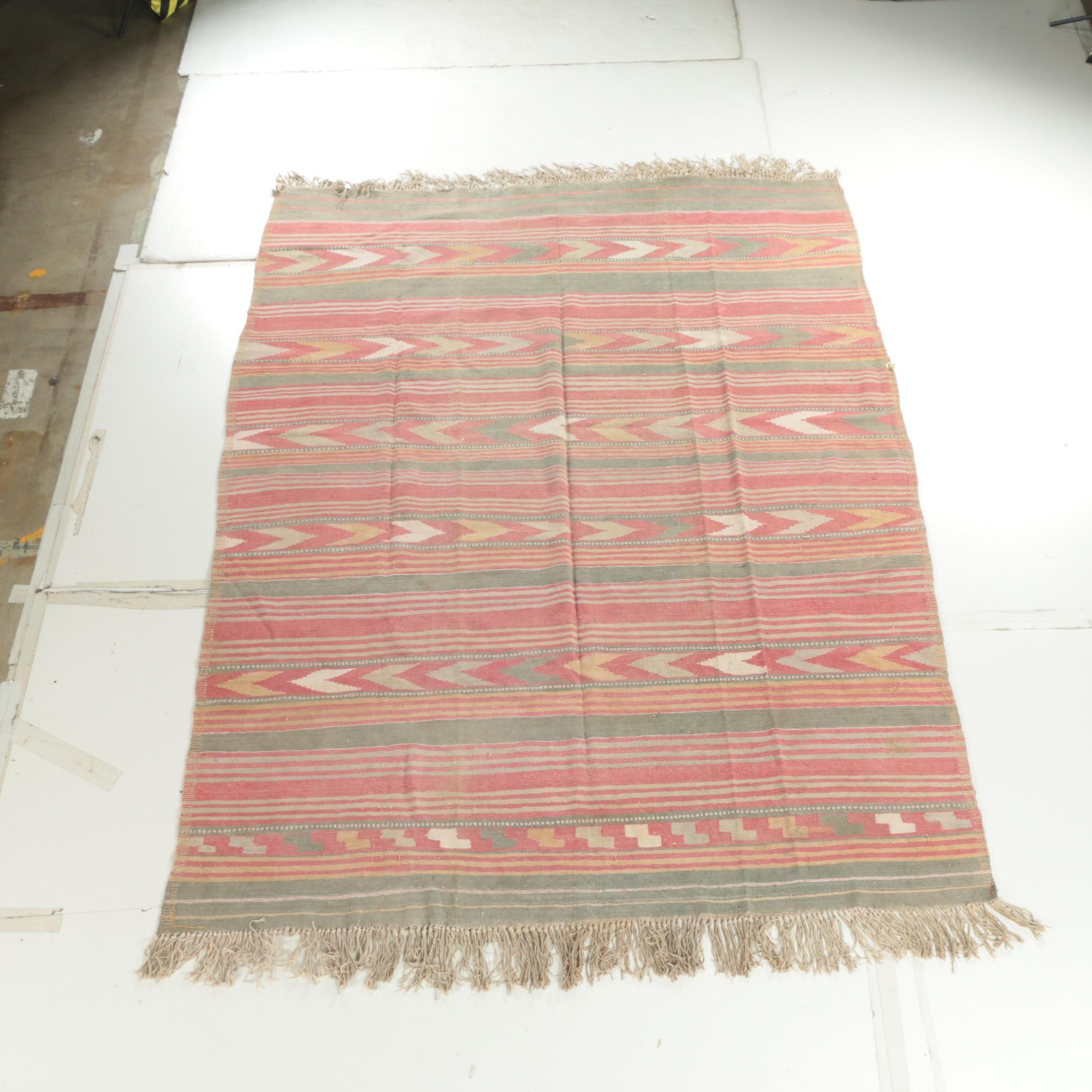 Vintage Handwoven Afghani Cotton Area Rug