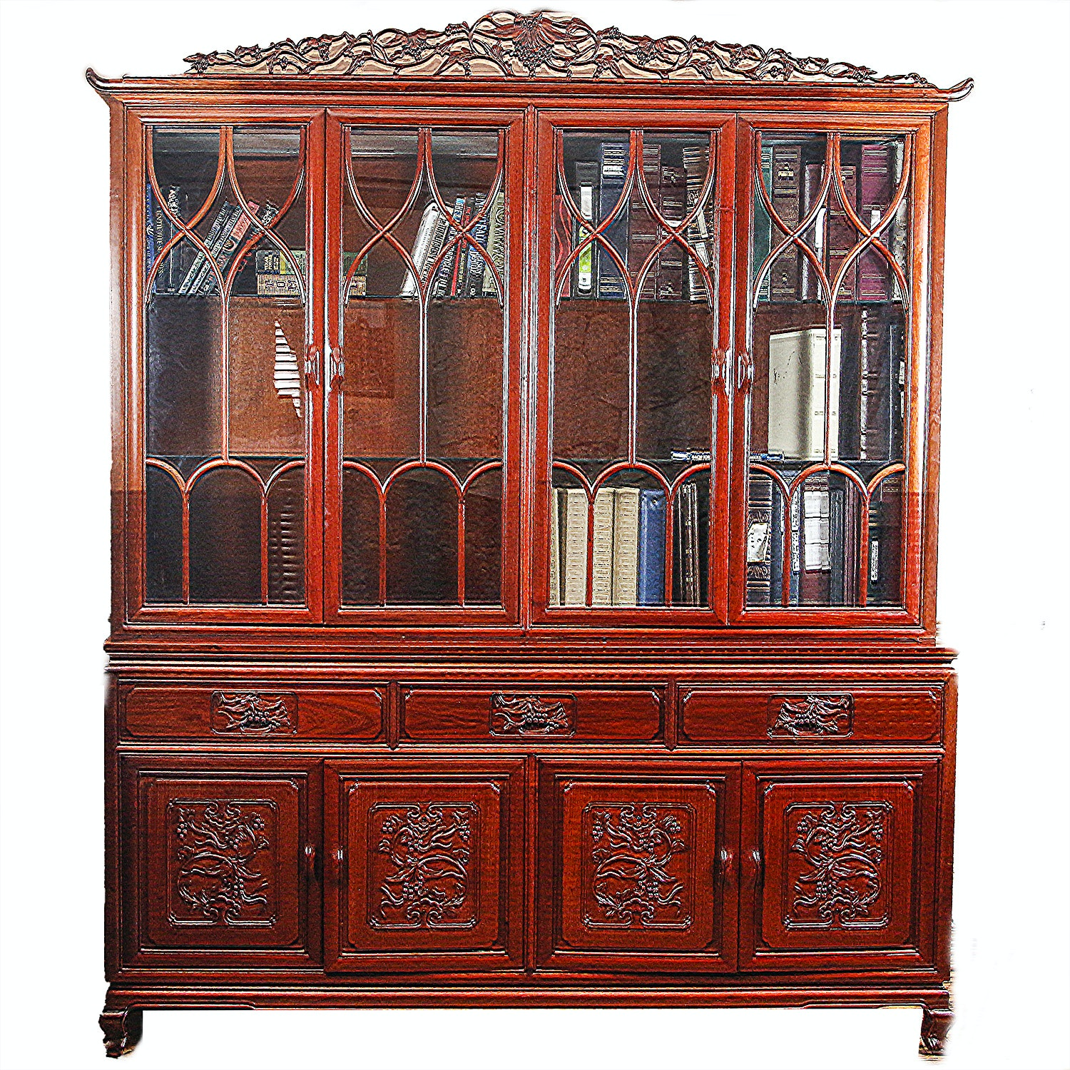 Vintage Chinese Chippendale Style China Cabinet