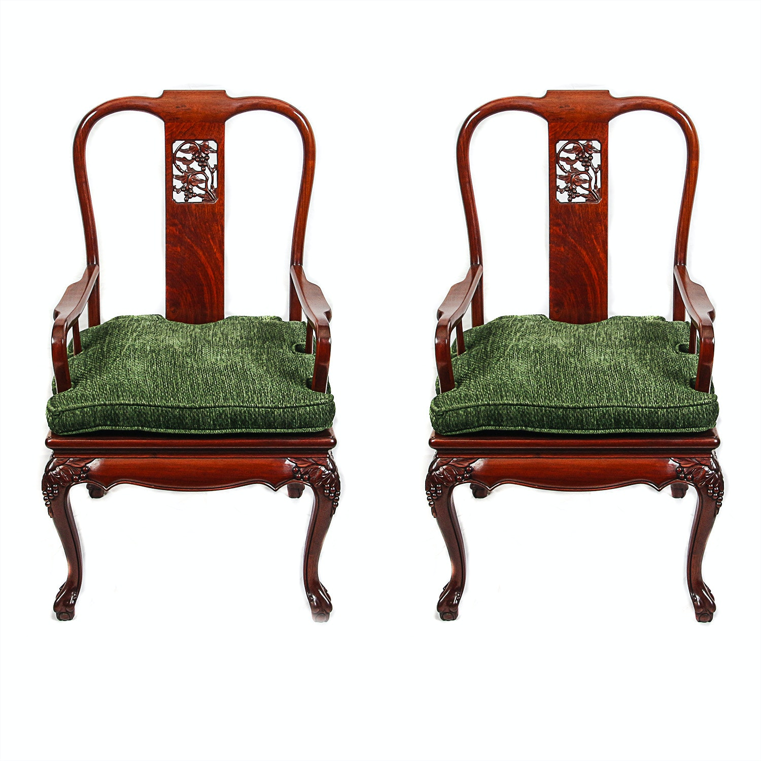 Vintage Chinese Chippendale Style Armchairs