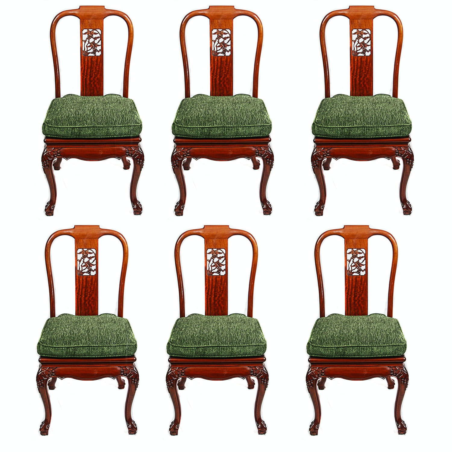 Vintage Chinese Chippendale Style Side Chairs