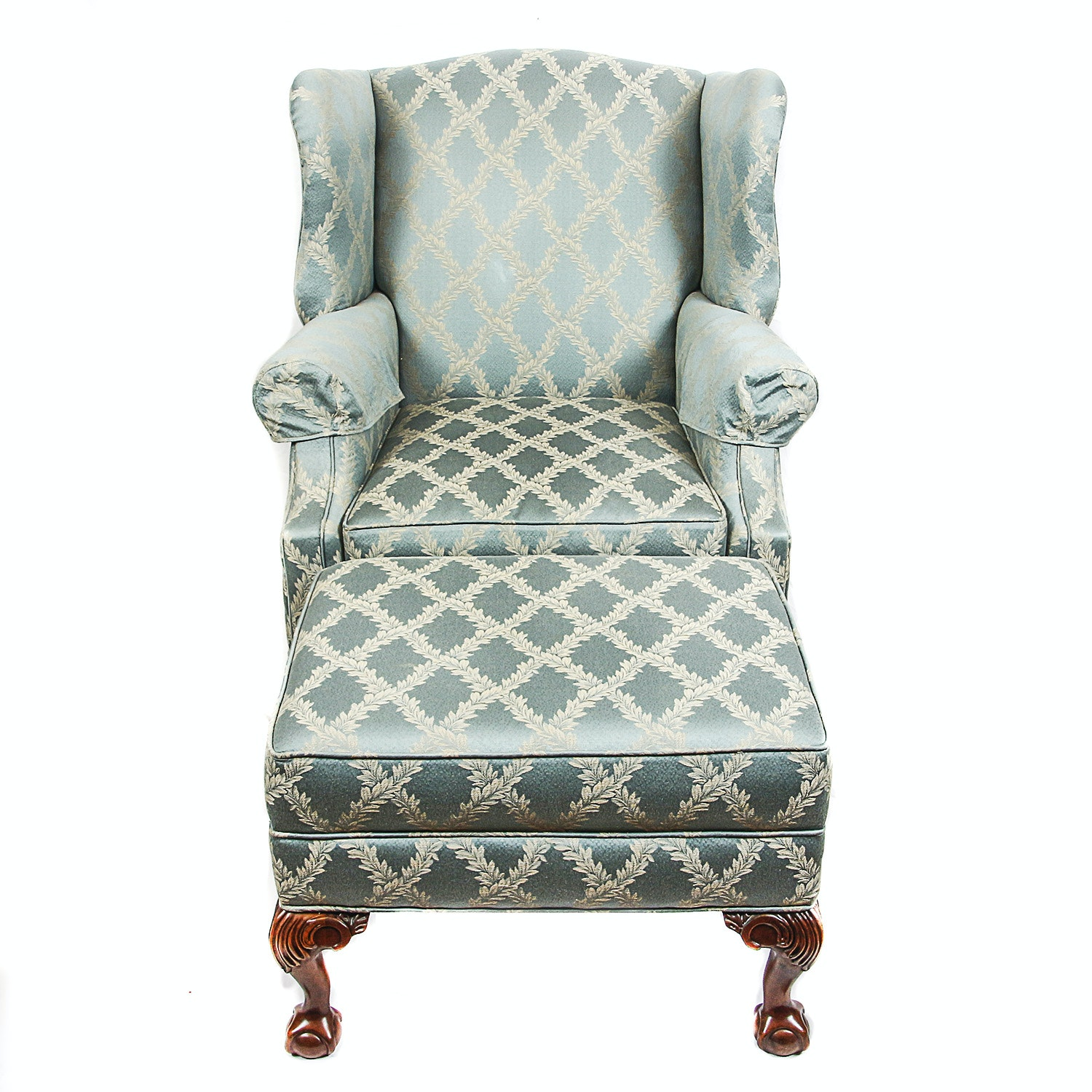 Blue Upholstered Wingback Chair and Ottoman
