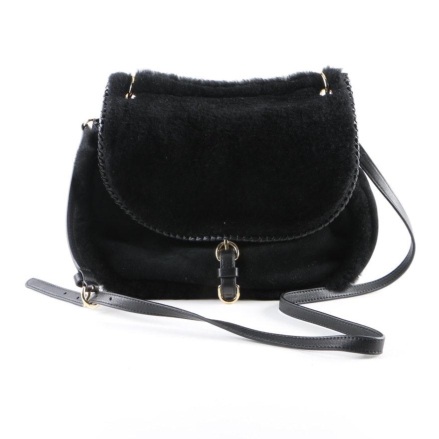a0af9c64a UGG Australia Quinn Black Sheepskin and Leather Crossbody Bag : EBTH