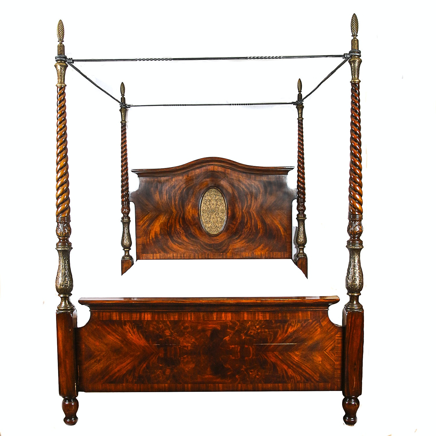 Vintage Italian Style Mahogany Queen Size Four Poster Bed Frame