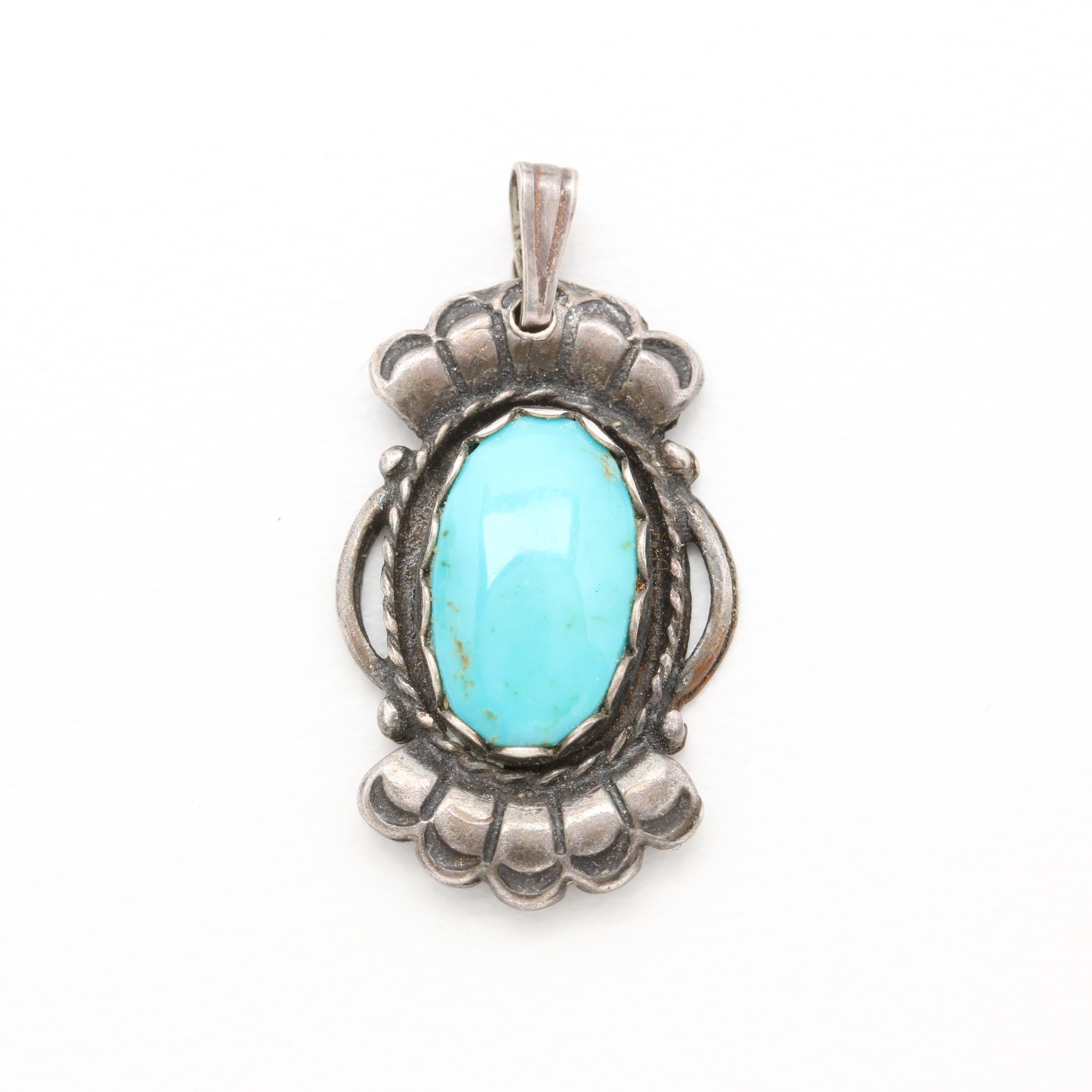 Vintage Southwest Style Sterling Silver Turquoise Pendant