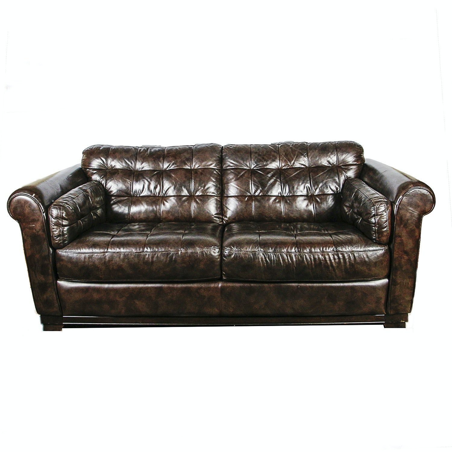 Chesterfield Style Brown Leather Sofa