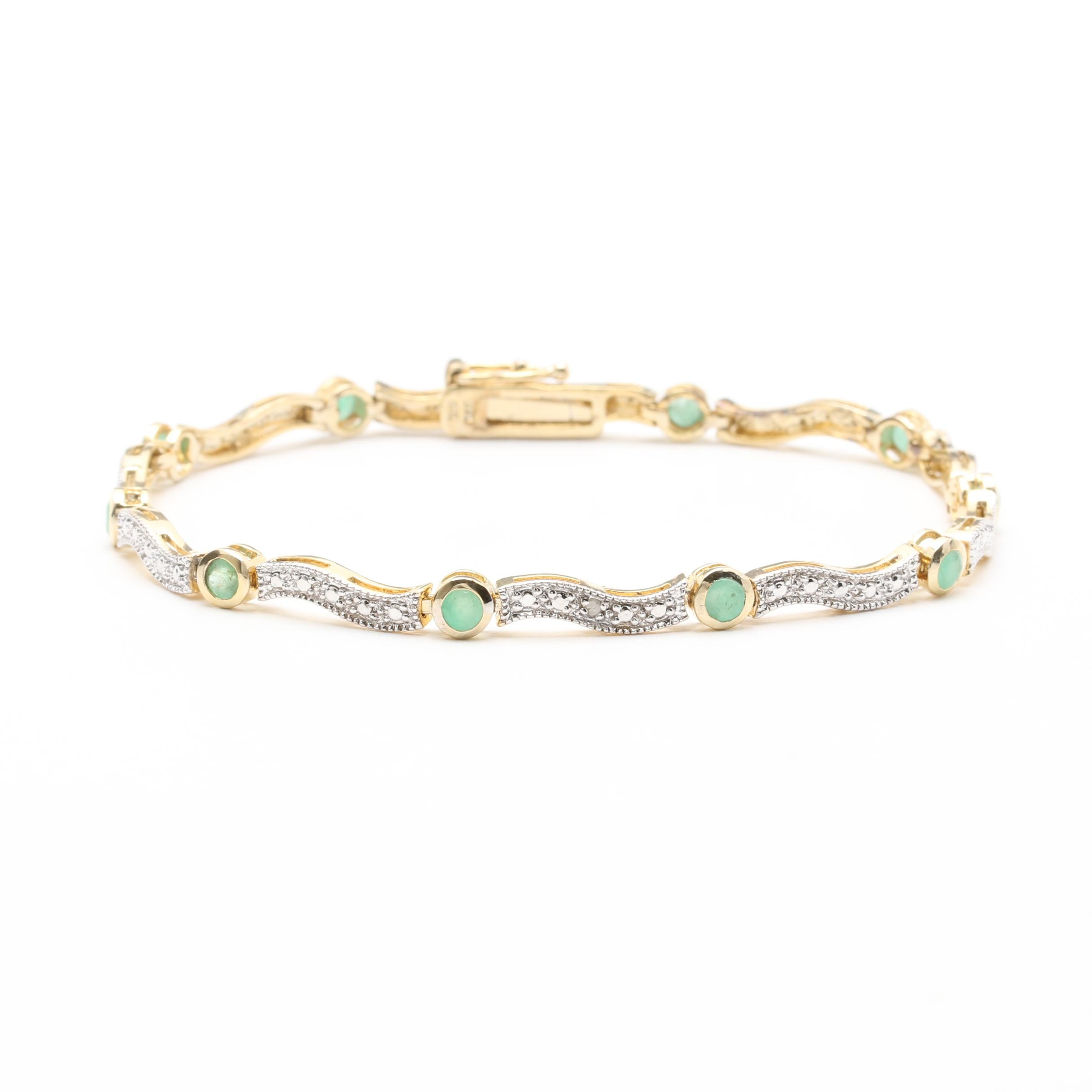 Sterling Silver Emerald and Diamond Bracelet with Gold Wash Accents