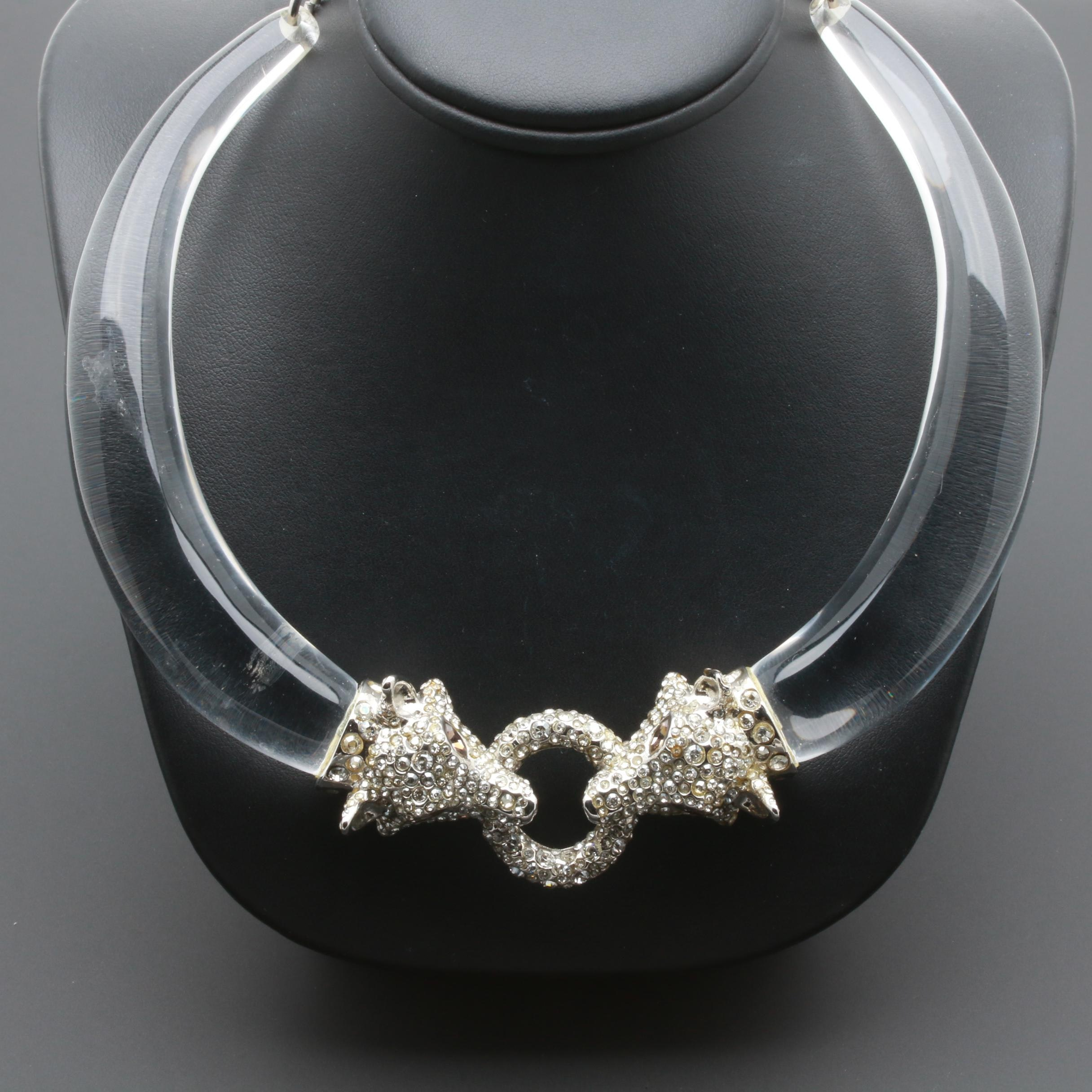 Alexis Bittar Wolf Head Glass Crystal and Plastic Necklace