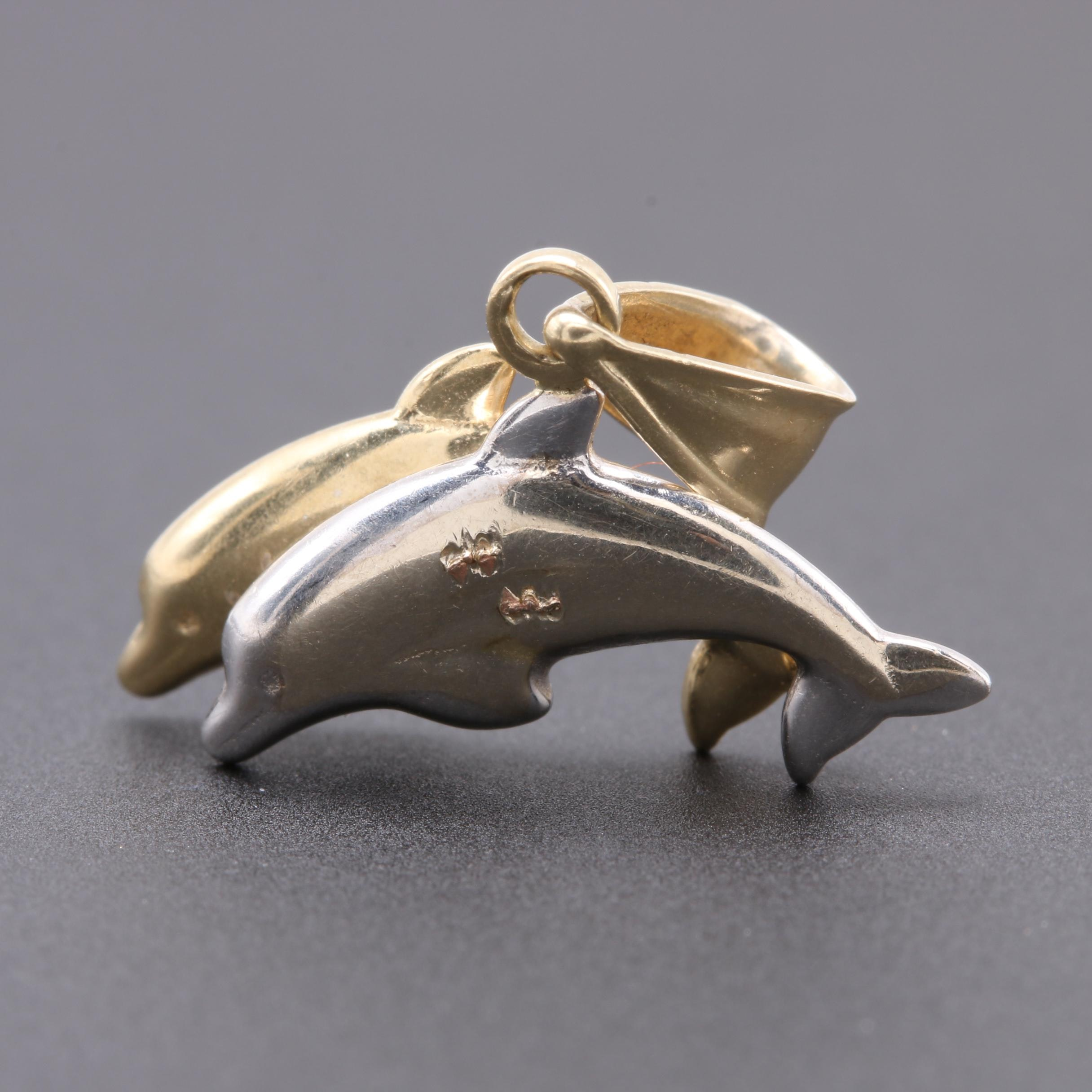 10K Yellow and White Gold Double Dolphin Pendant