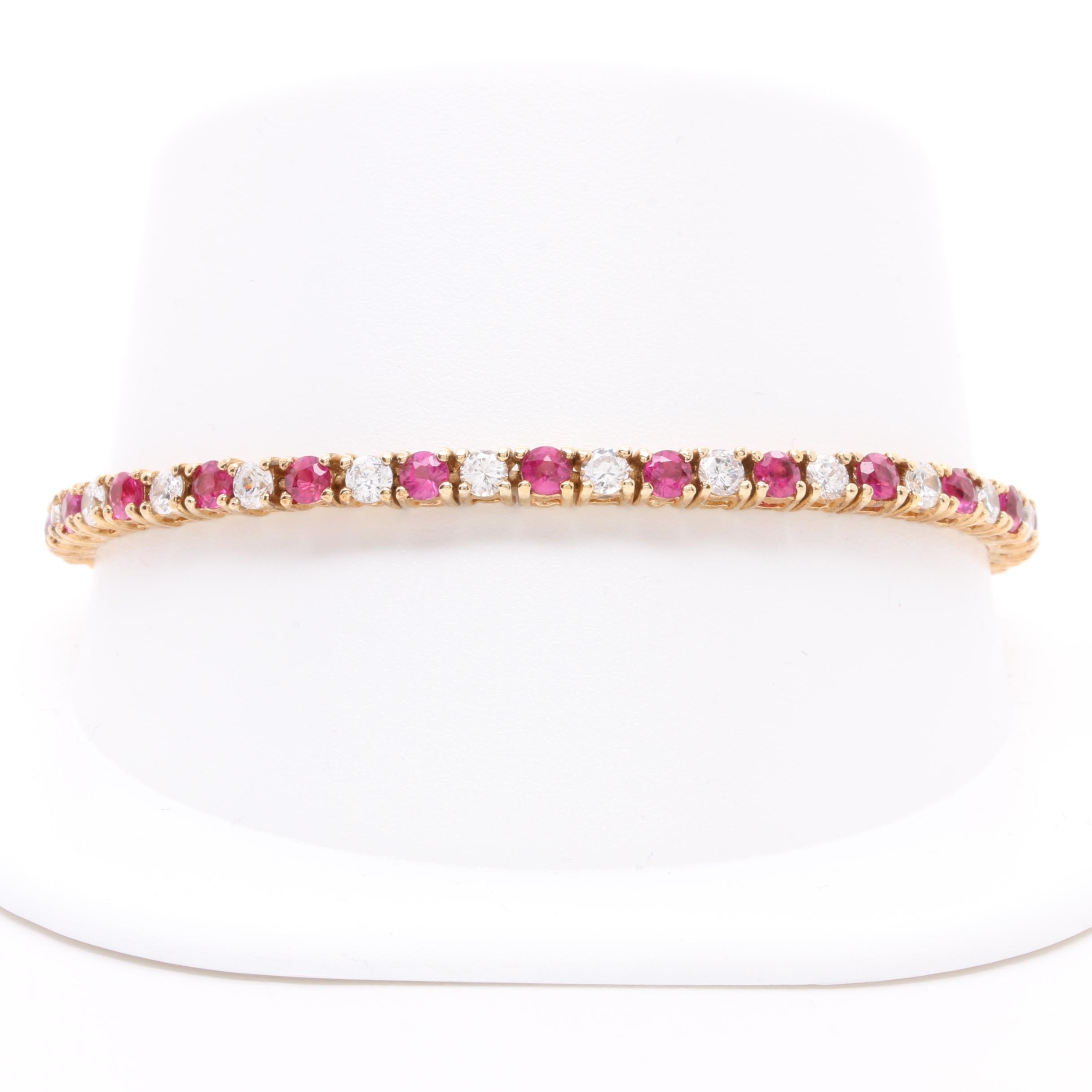 Gold Wash on Sterling Silver Cubic Zirconia and Synthetic Ruby Bracelet