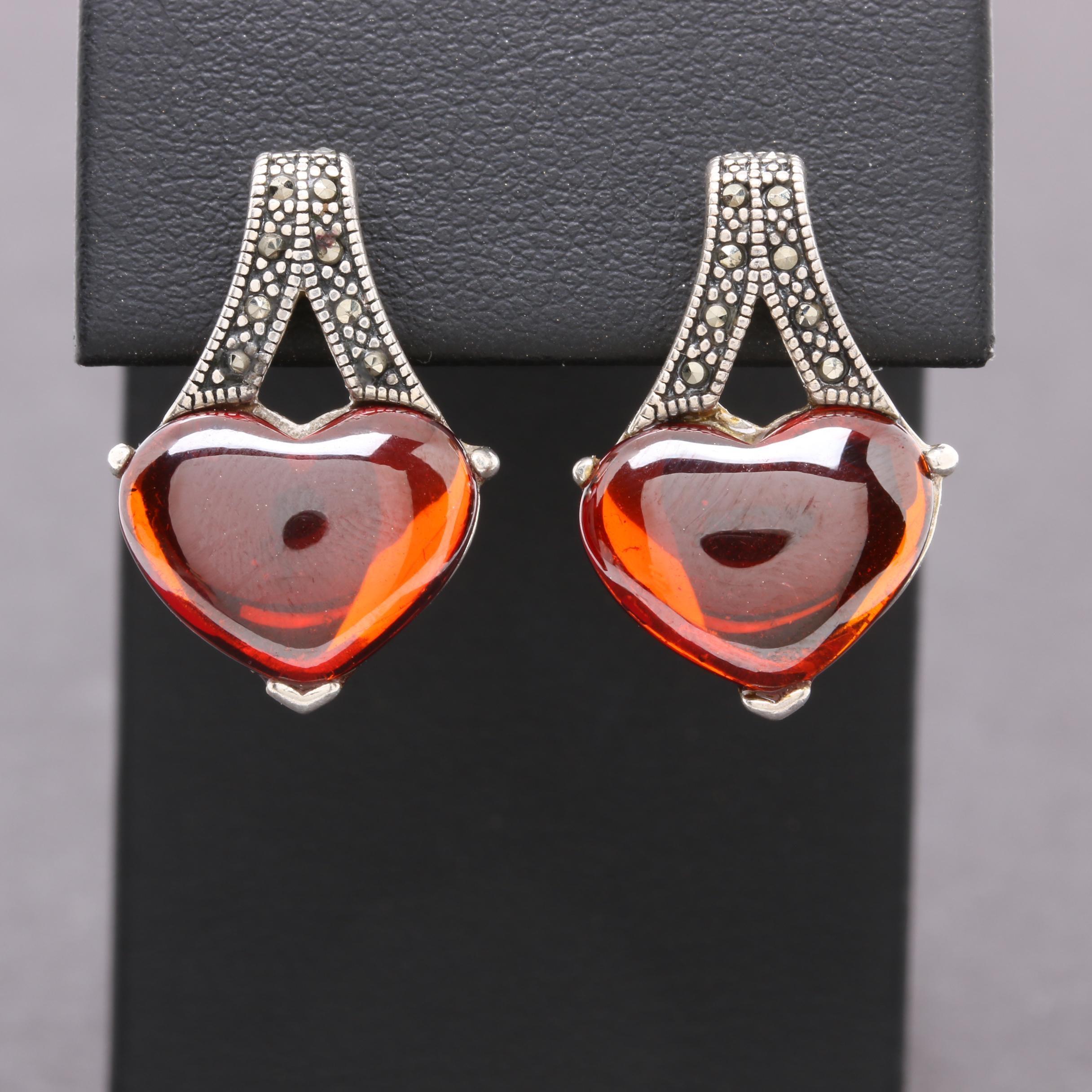 Sterling Silver Garnet and Marcasite Heart Earrings