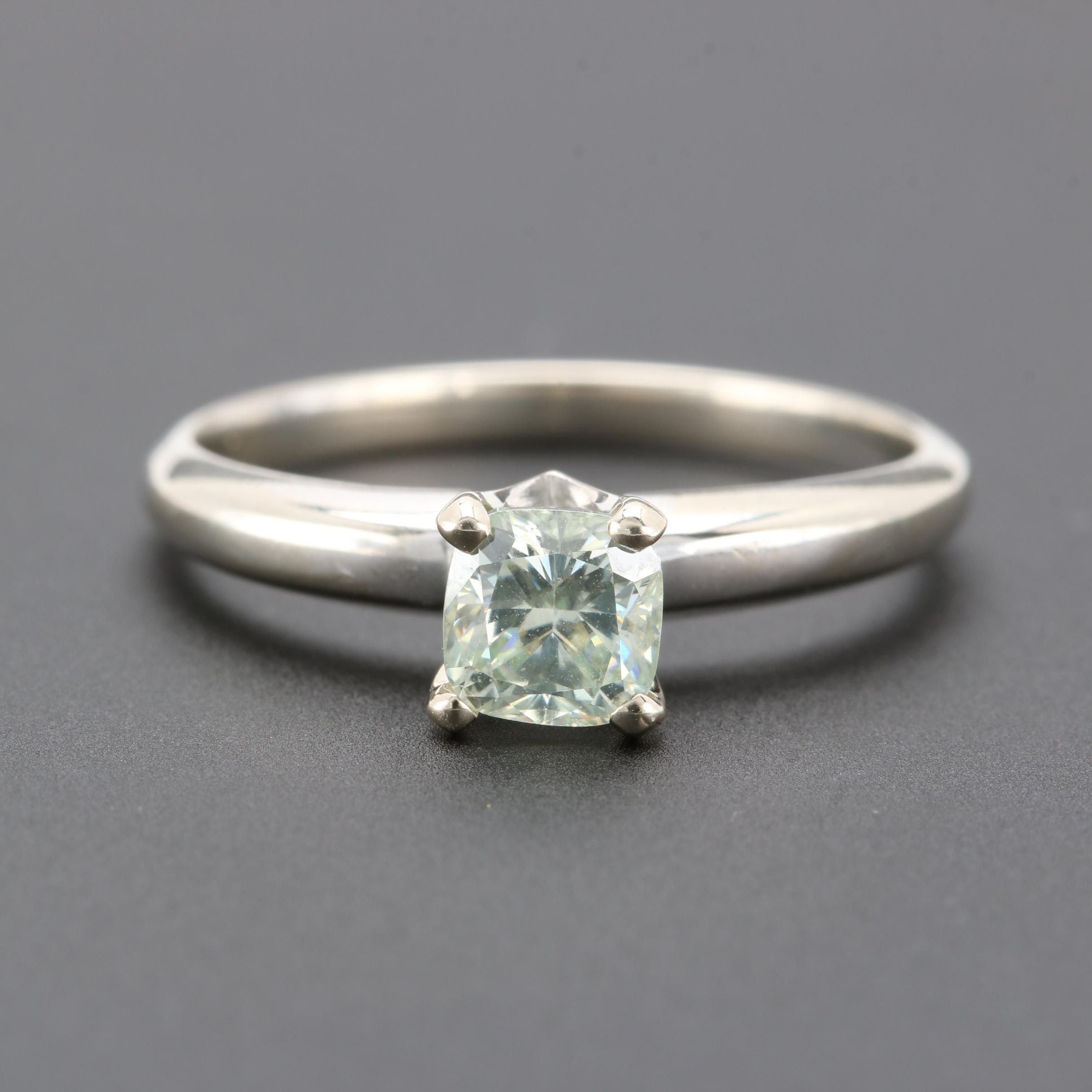 14K White Gold Synthetic Moissanite Solitaire Ring