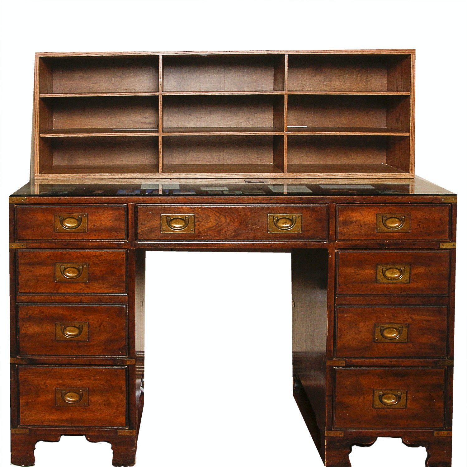 Vintage Campaign Style Kneehole Desk by Heritage with Oak Shelving Unit