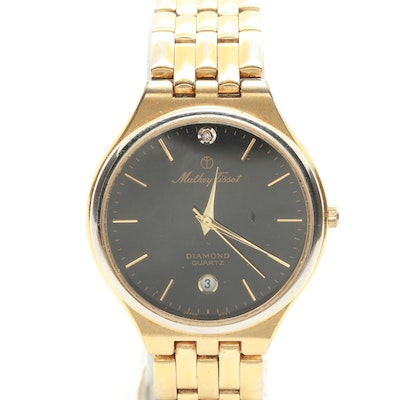 Mathey Tissot Gold Tone Diamond Wristwatch