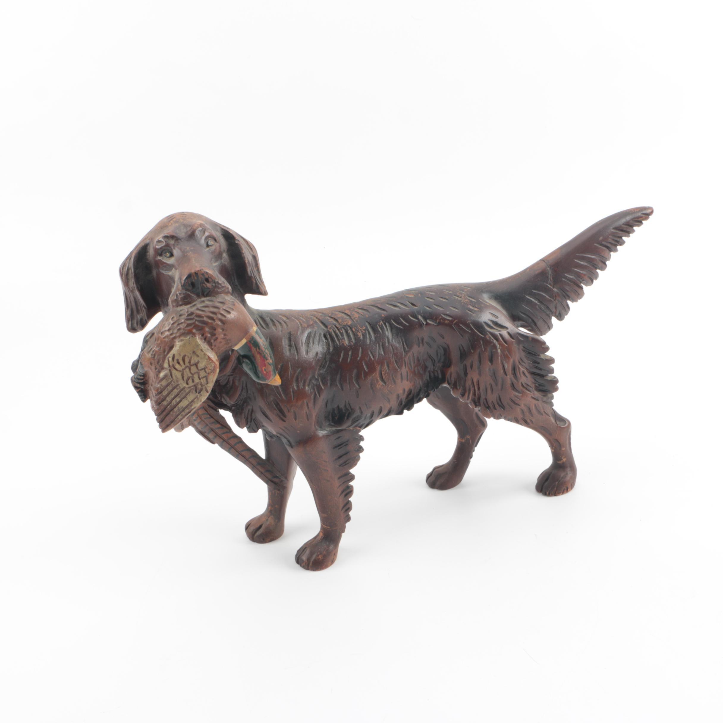 Carved Wood Hunting Dog Sculpture