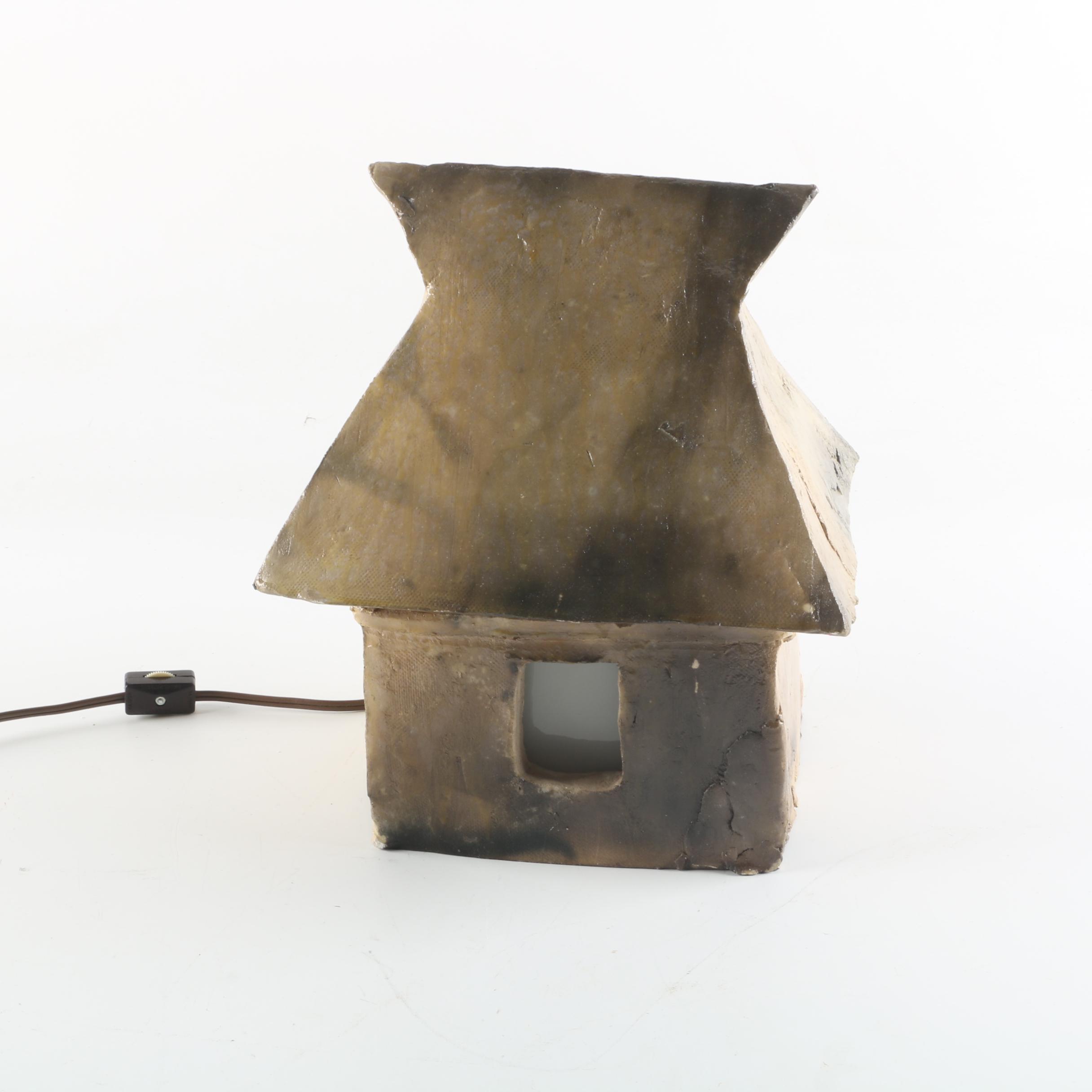 Handbuilt Stoneware Hut Accent Lamp