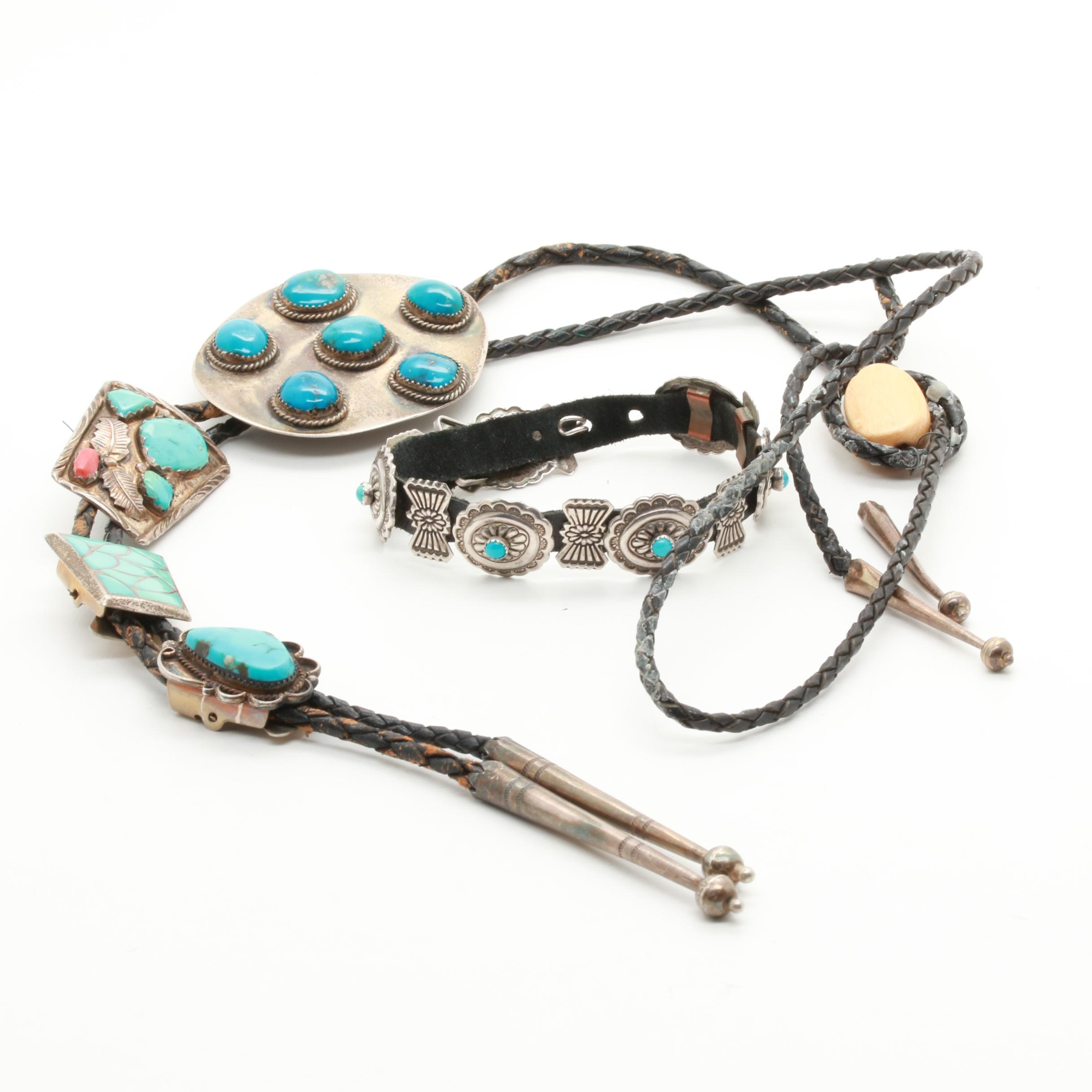Southwestern Style Sterling Silver and Base Metal Jewelry Including Turquoise