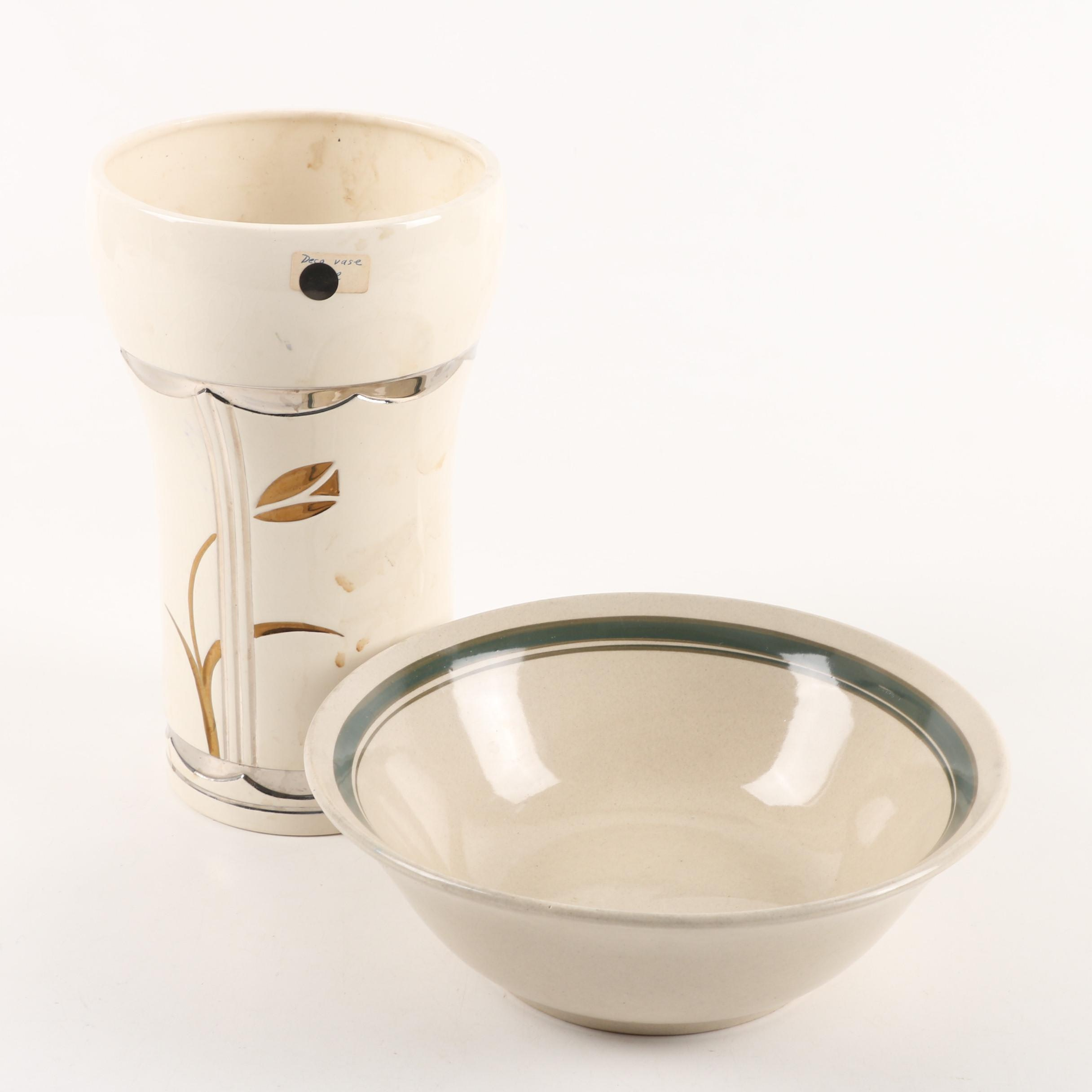 Art Deco Style Silver and Gold Accented Ceramic Vase  with Earthenware Bowl