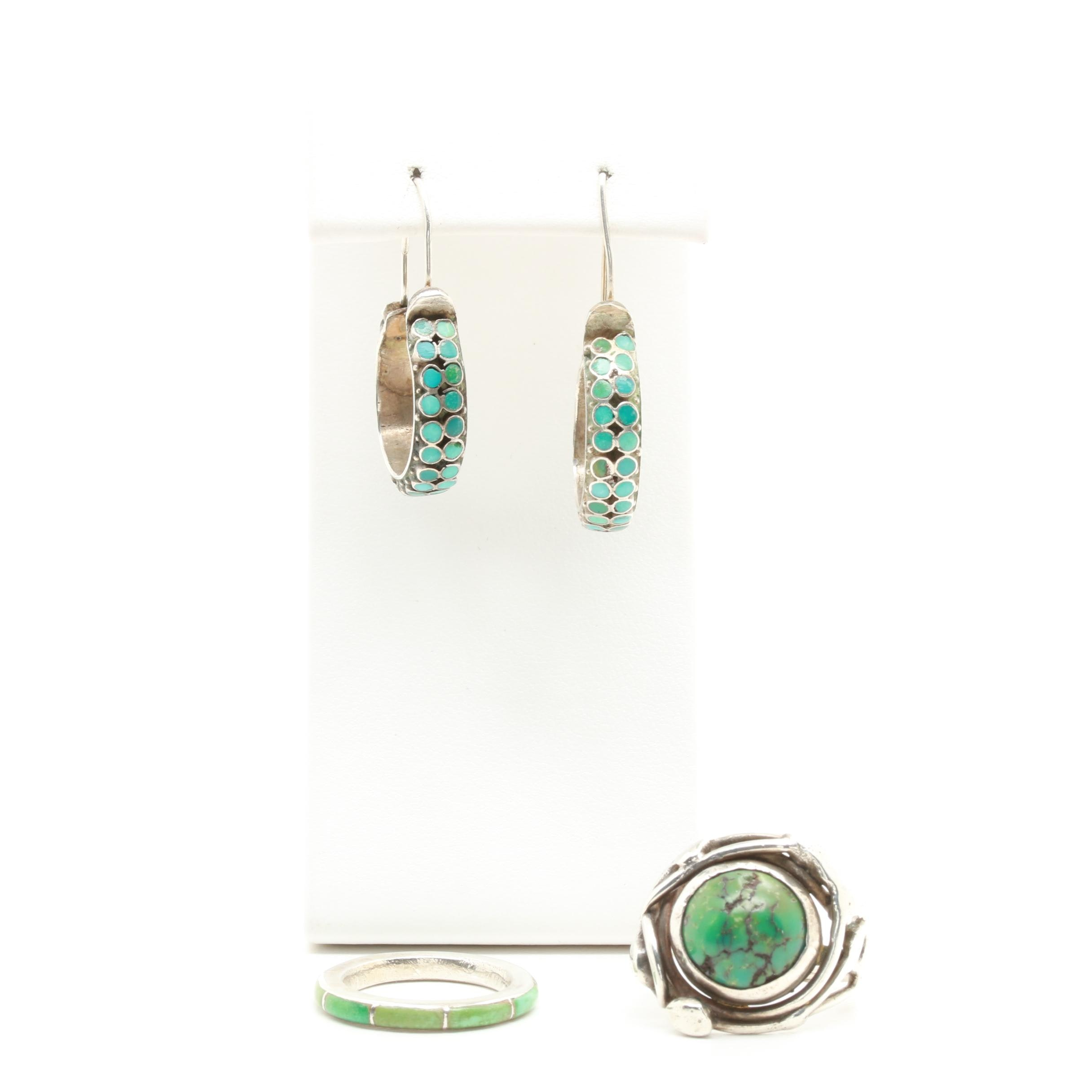 Sterling Silver Turquoise and Stabilized Turquoise Rings and Earrings