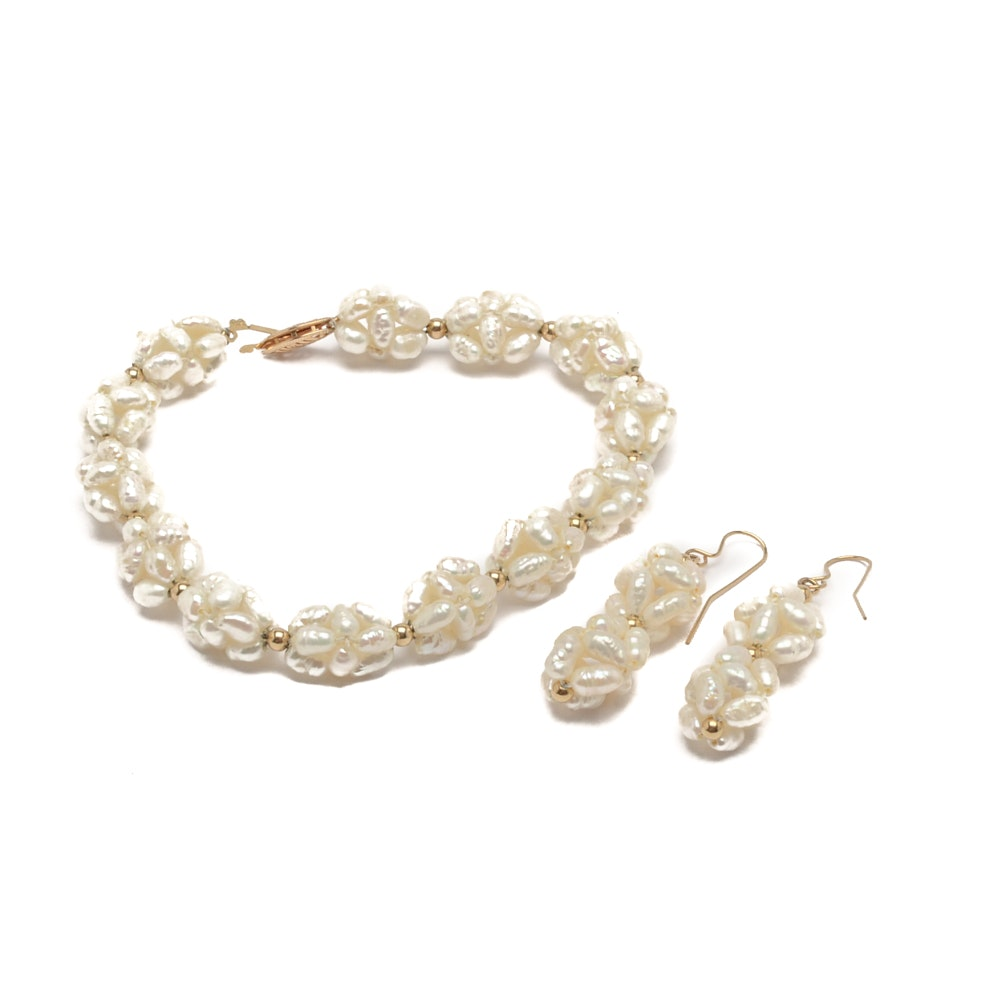 14K Yellow Gold Cultured Pearl Earring and Bracelet Set