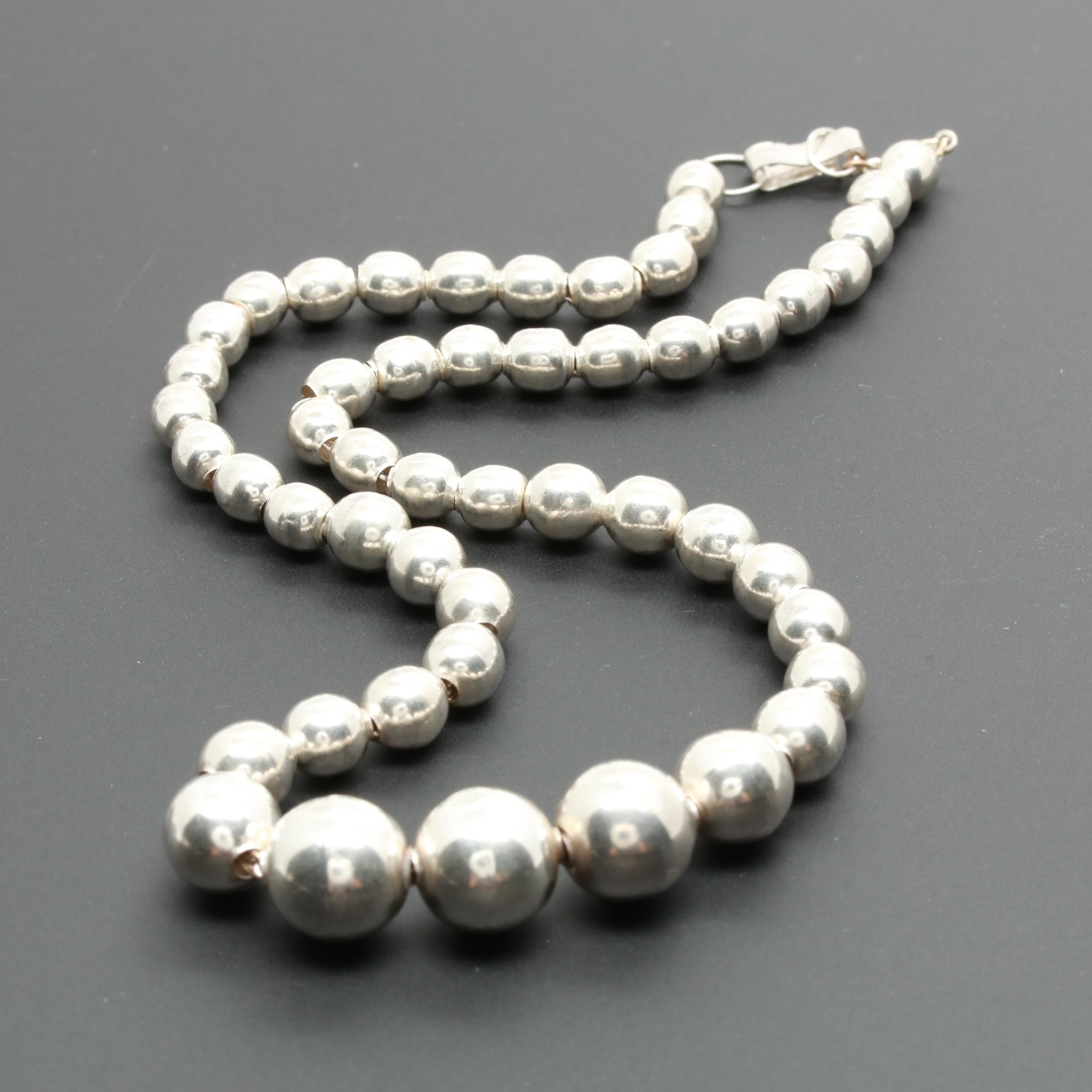 Mexico Sterling Silver Graduated Bead Necklace