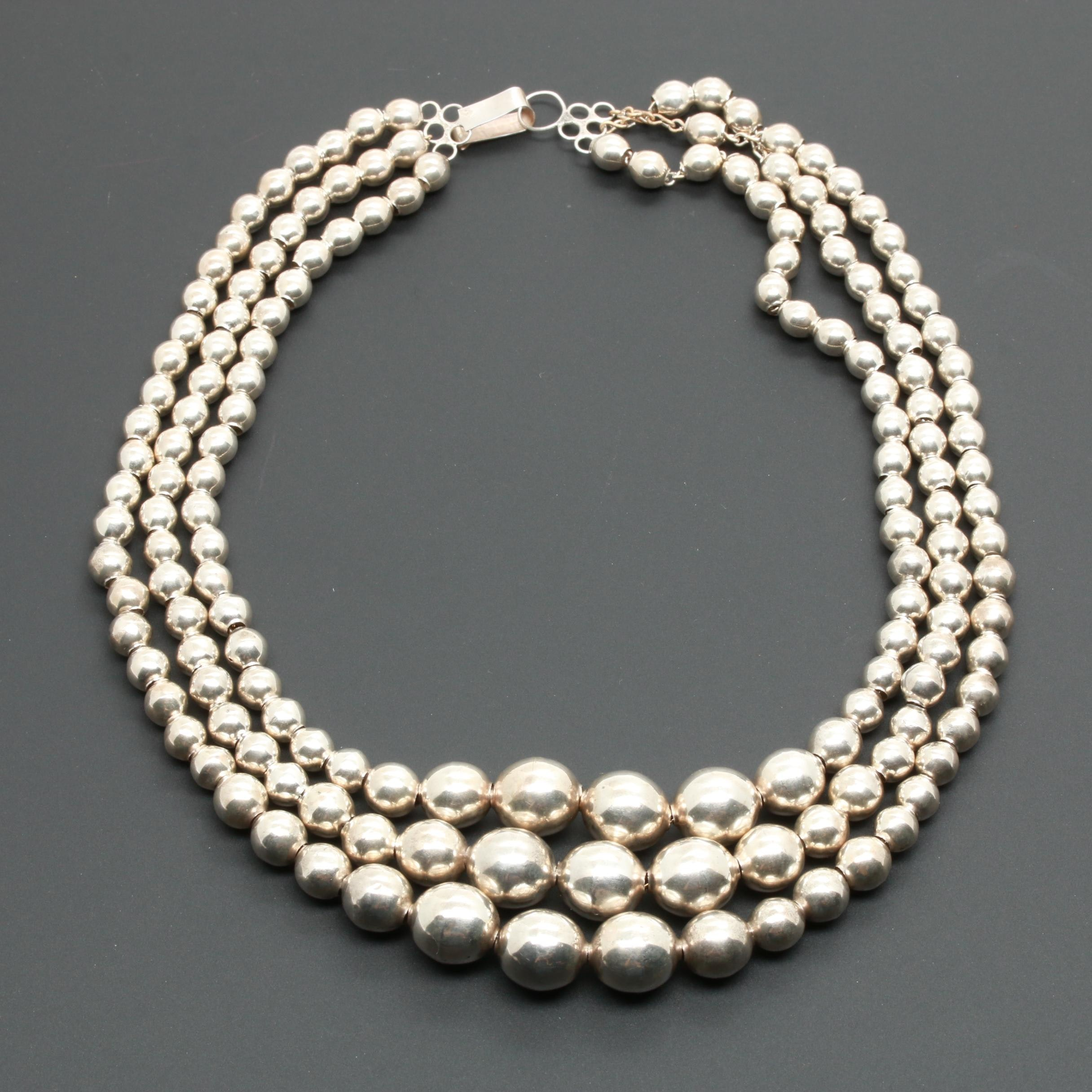 Taxco Sterling Silver Graduated Bead Triple Strand Necklace