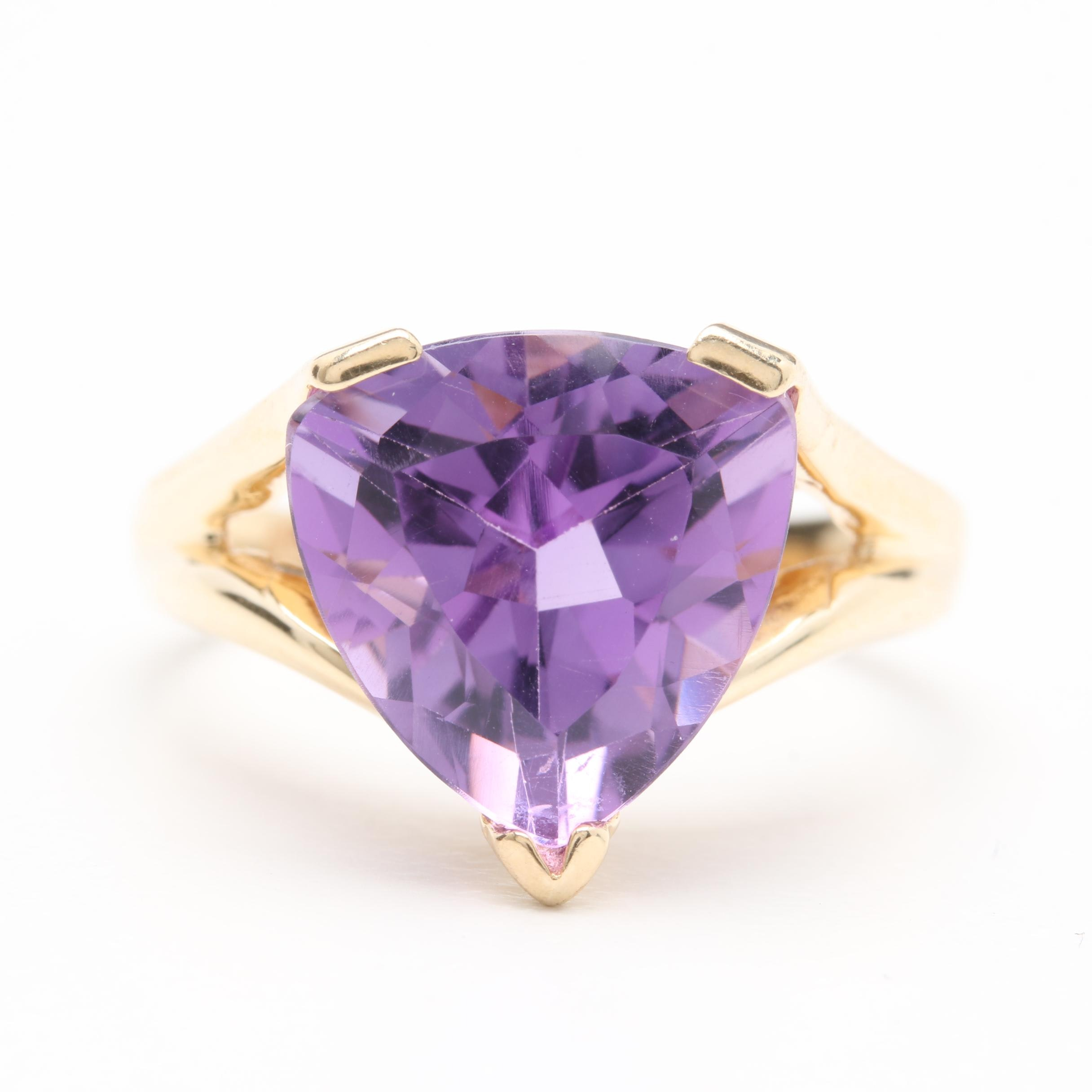 10K Yellow Gold Amethyst Solitaire Ring