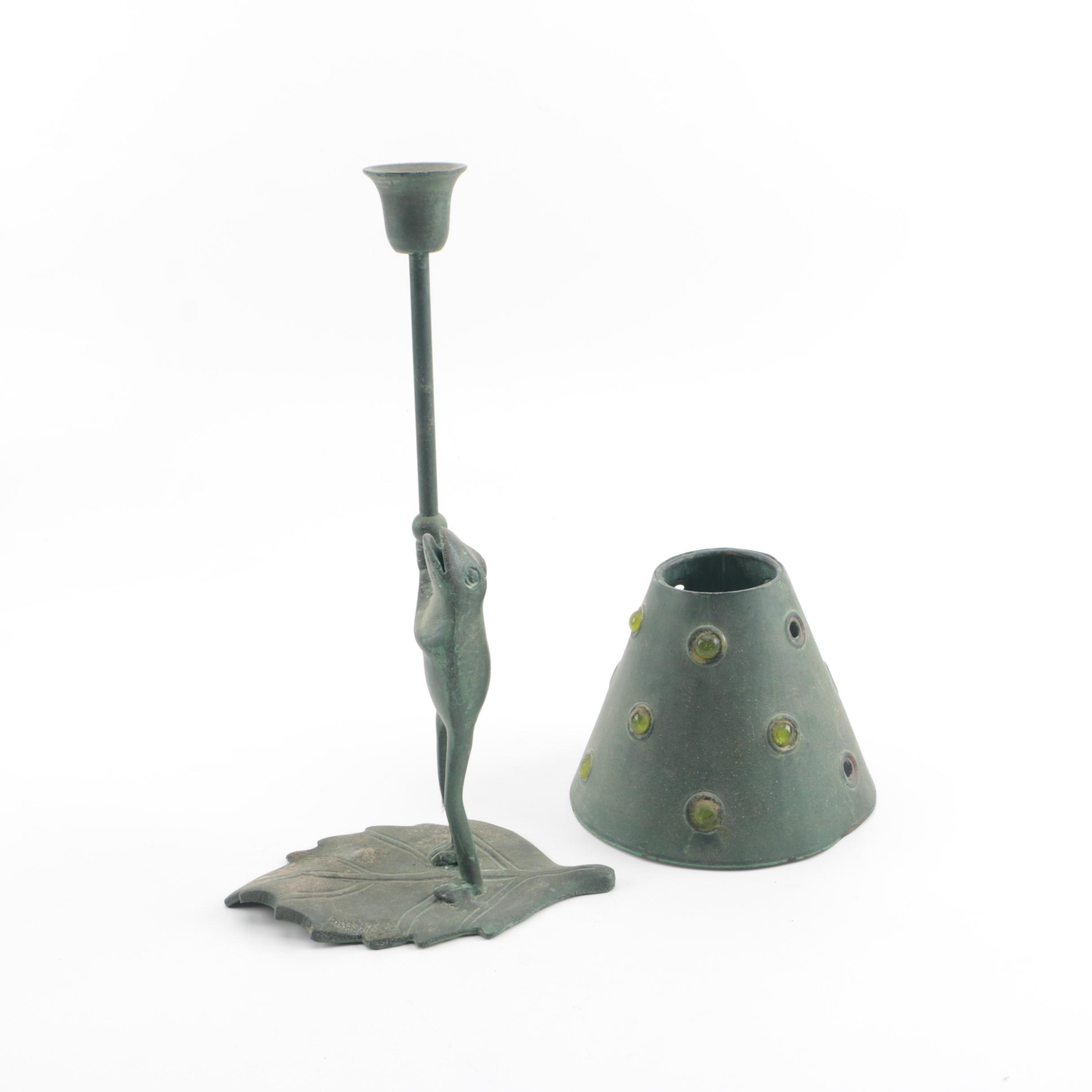 Metal Frog Candle Holder and Shade with Verdigris Wash