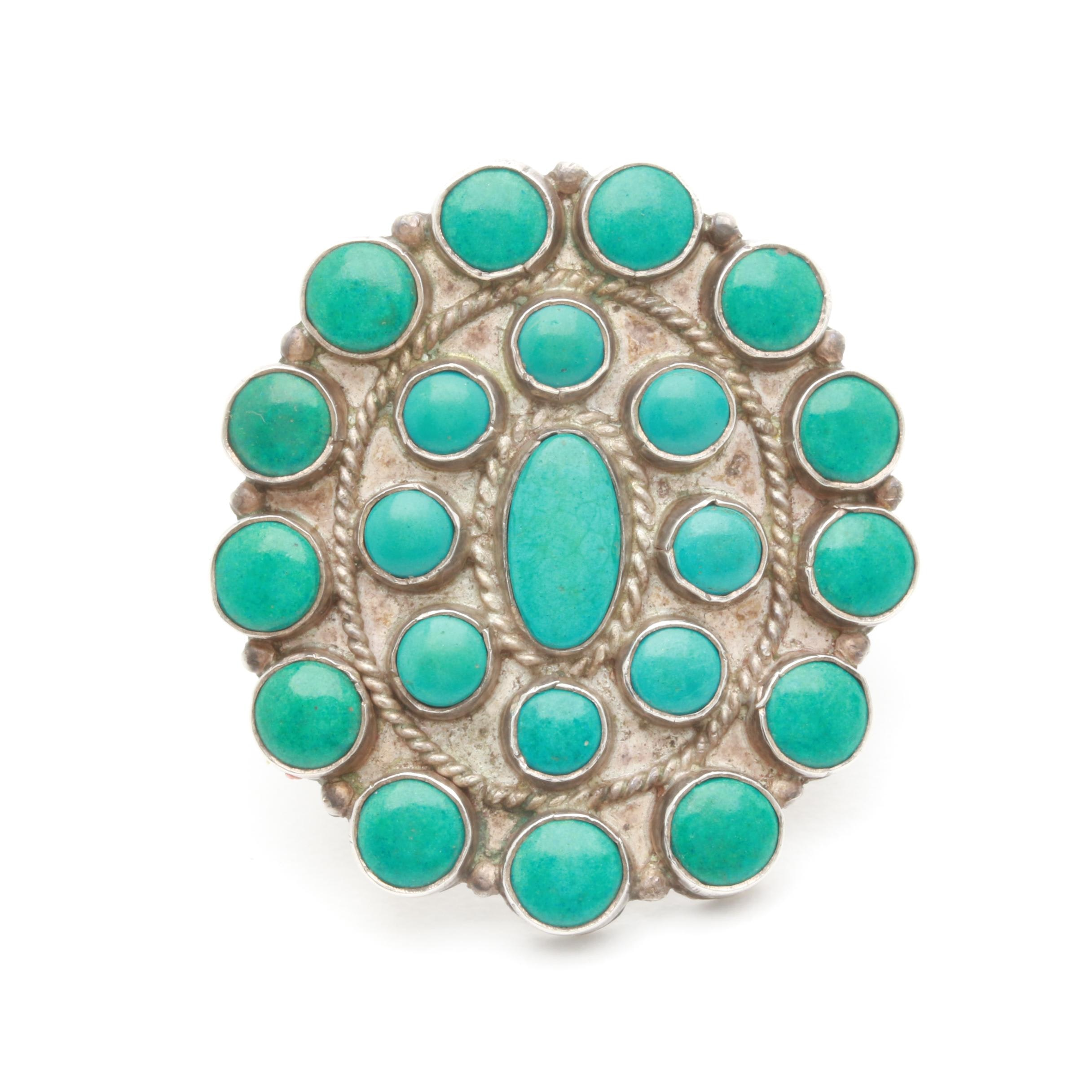 Southwest Style Sterling Silver Reconstituted Turquoise Ring