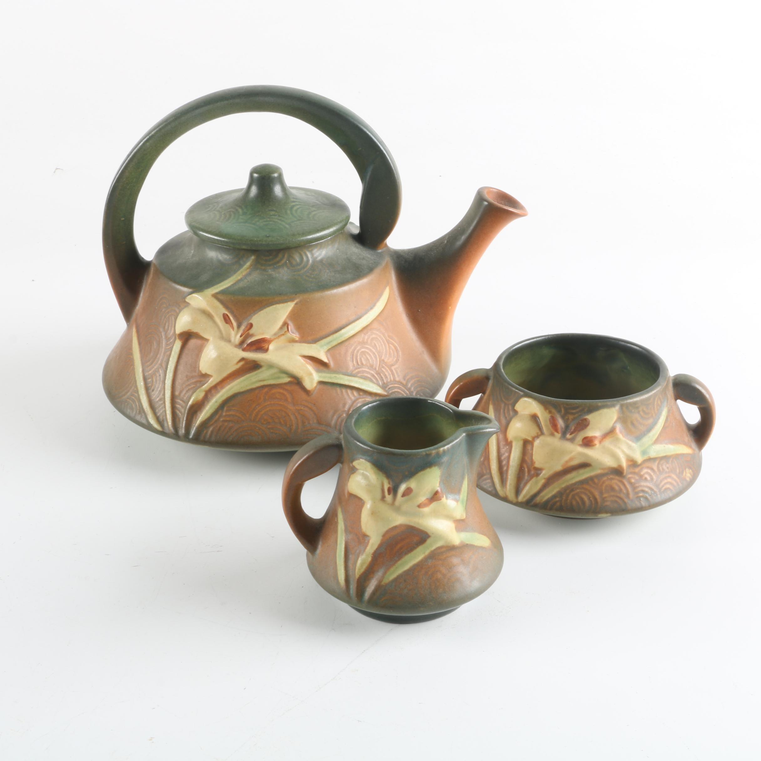 "Roseville Pottery ""Zephyr Lily"" Tea Set"