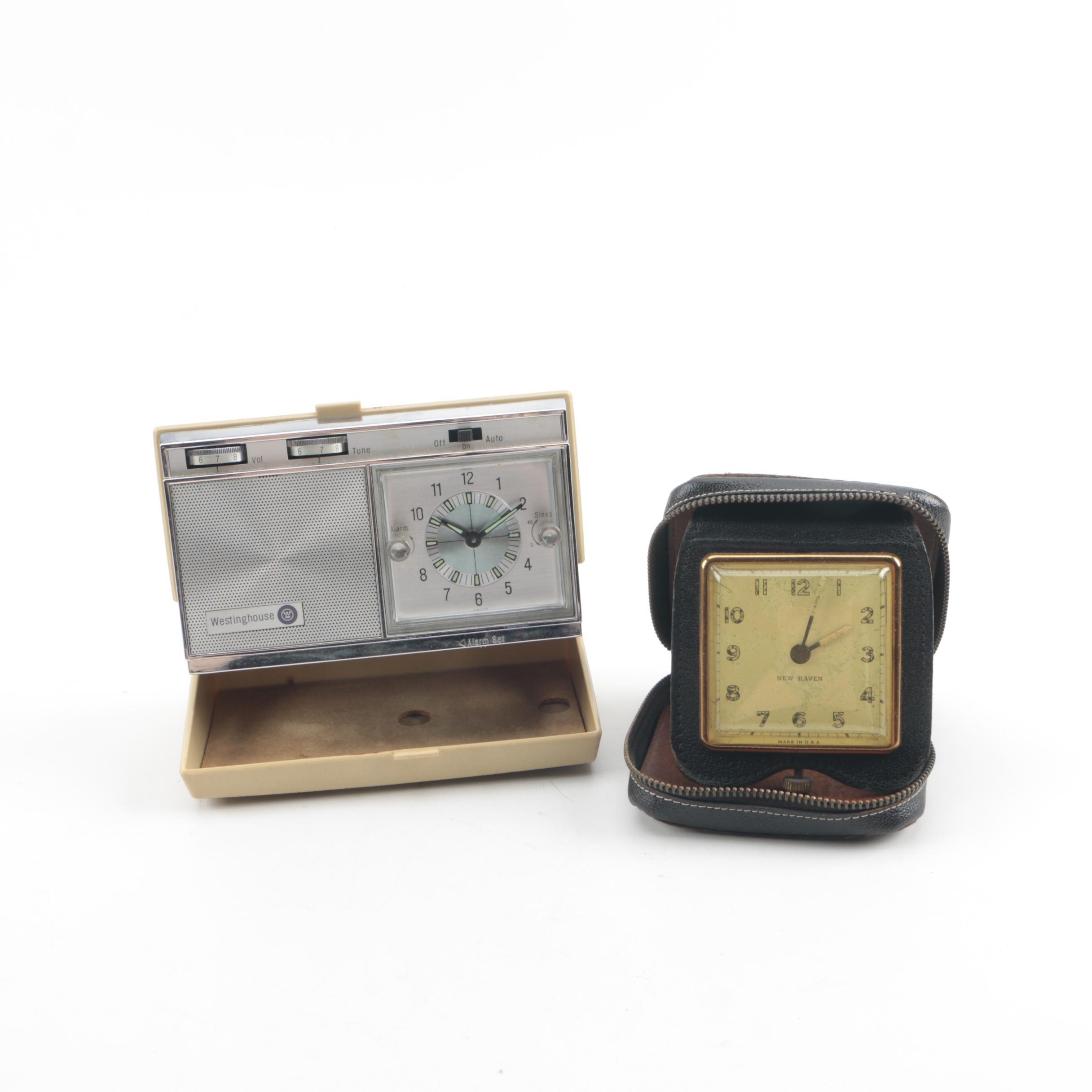 Mid Century New Haven Travel Clock and Westinghouse Clock Radio