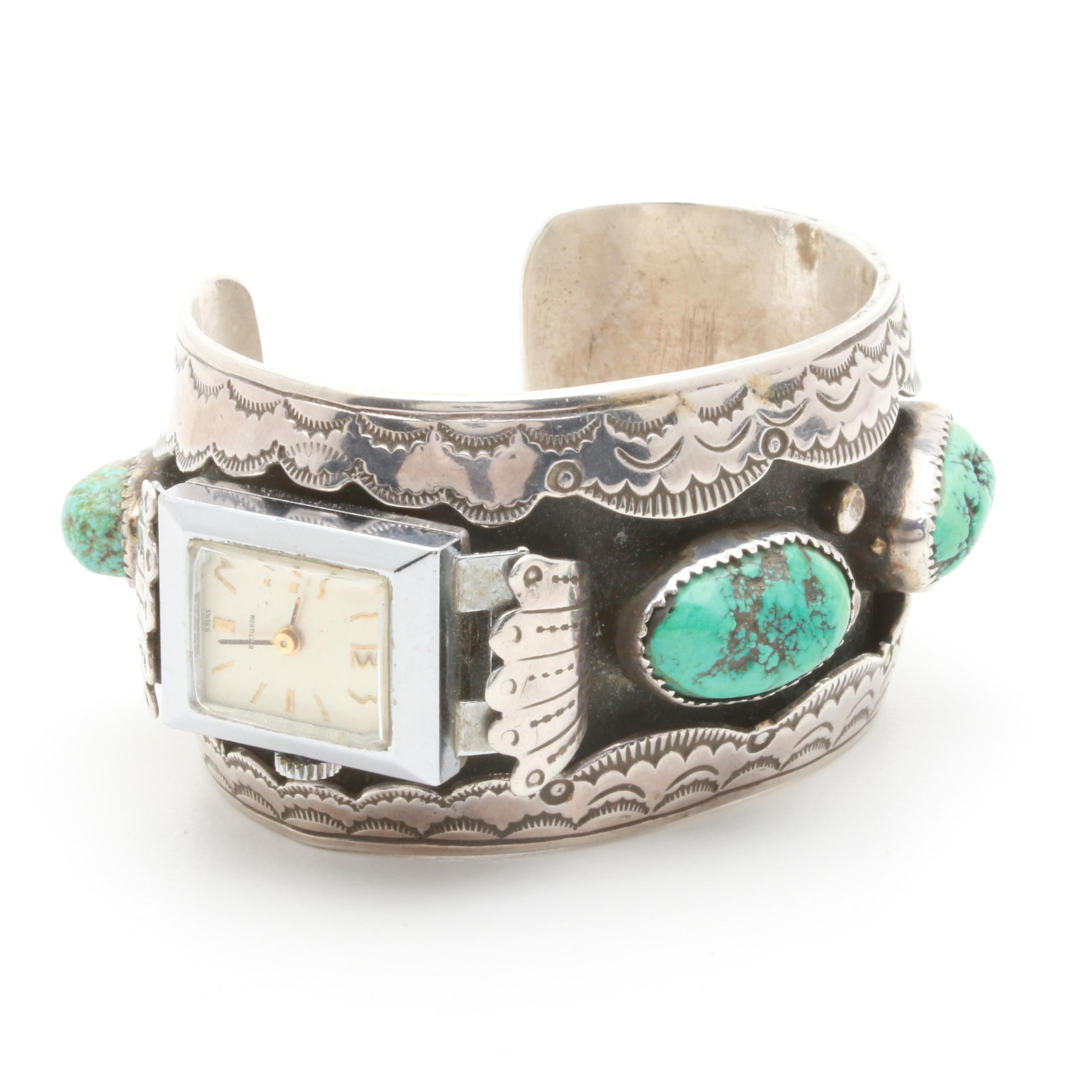 Chester Gverro Najavo Diné Sterling Silver Turquoise Watch Cuff Bracelet