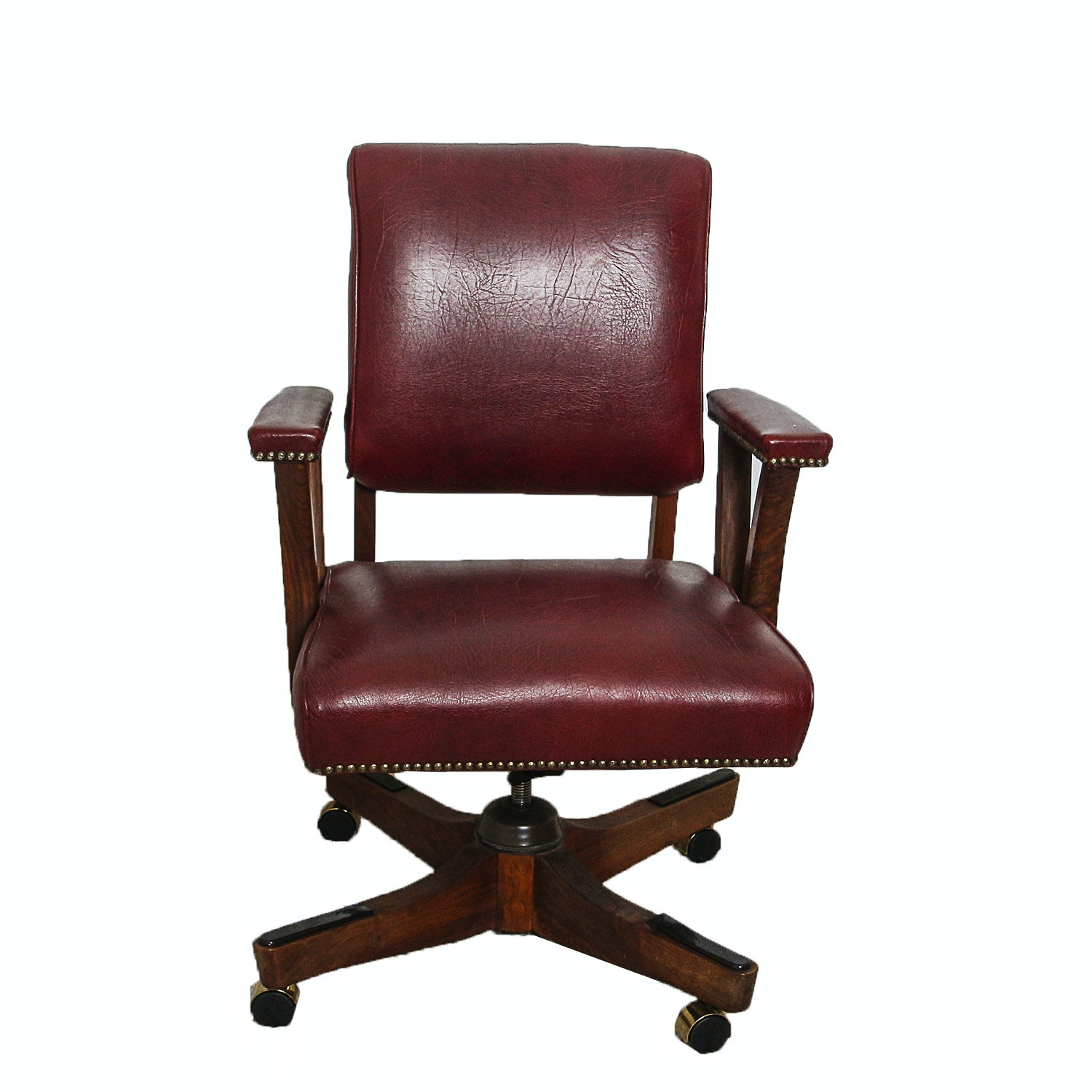 Vintage Red Vinyl Upholstered Office Rolling Chair