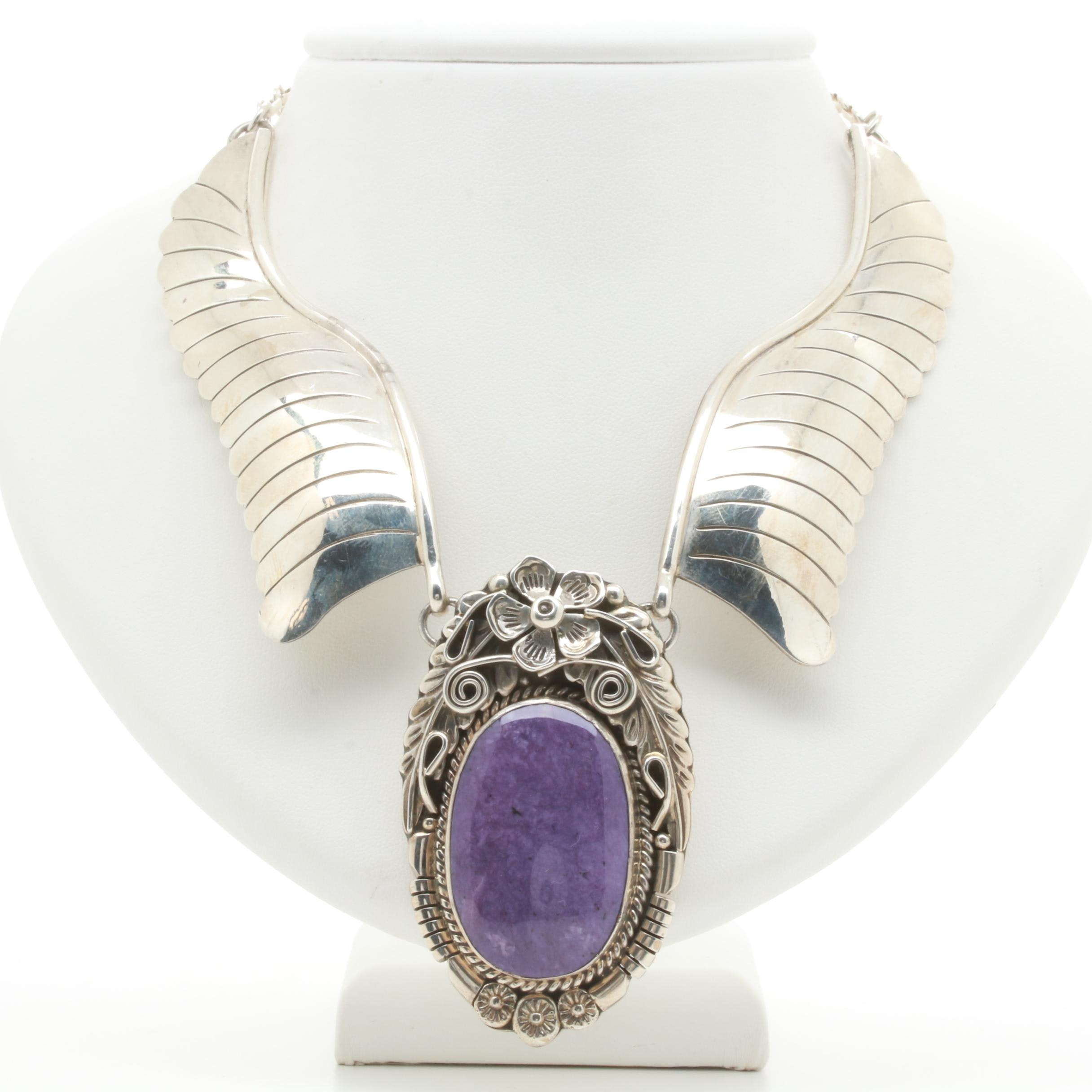 Handmade C. Whiterock Sterling Silver Southwestern Style Sugilite Necklace