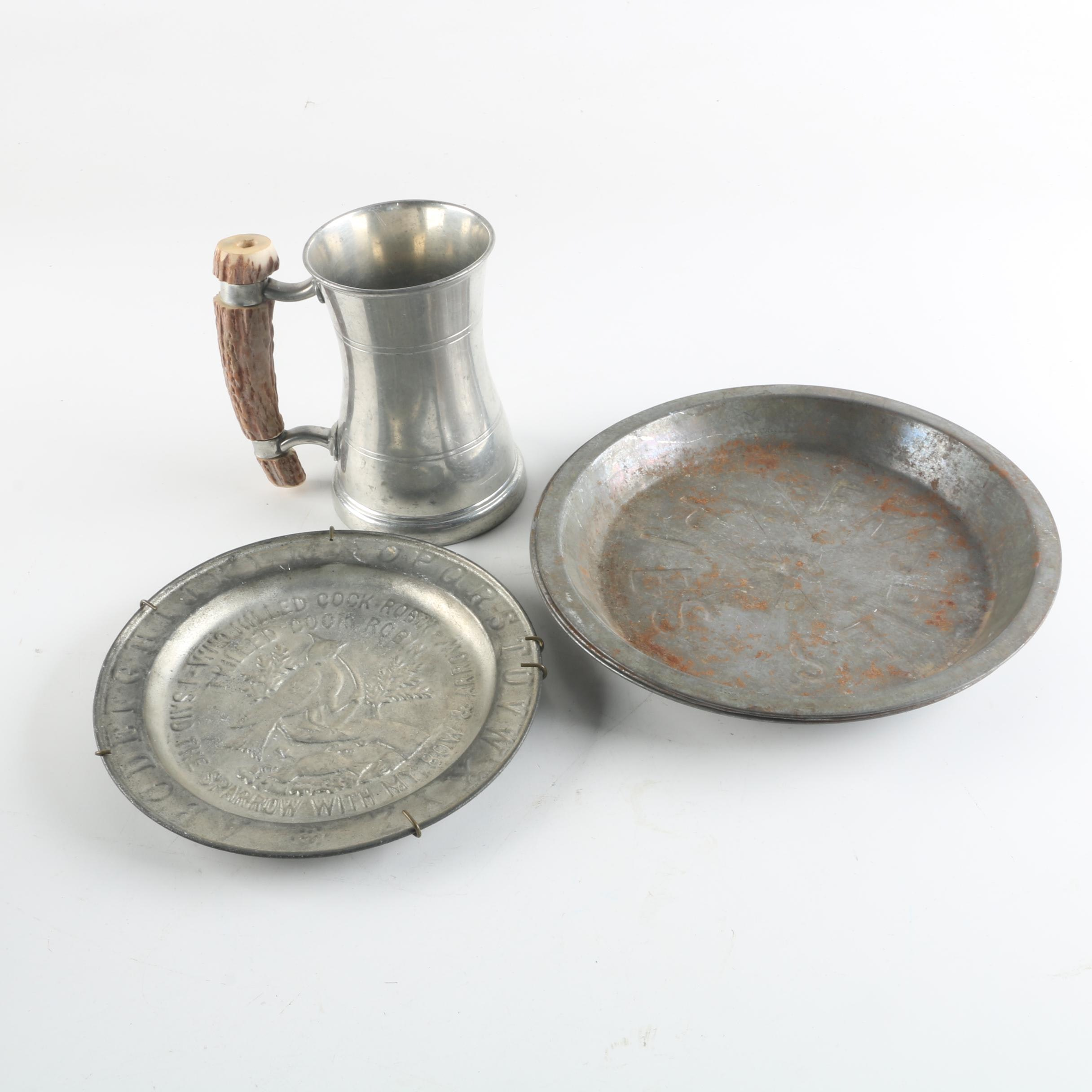 Tin Pie Plates, Samuel Peace Glass-Bottomed Pewter Mug and Embossed Tin Plate