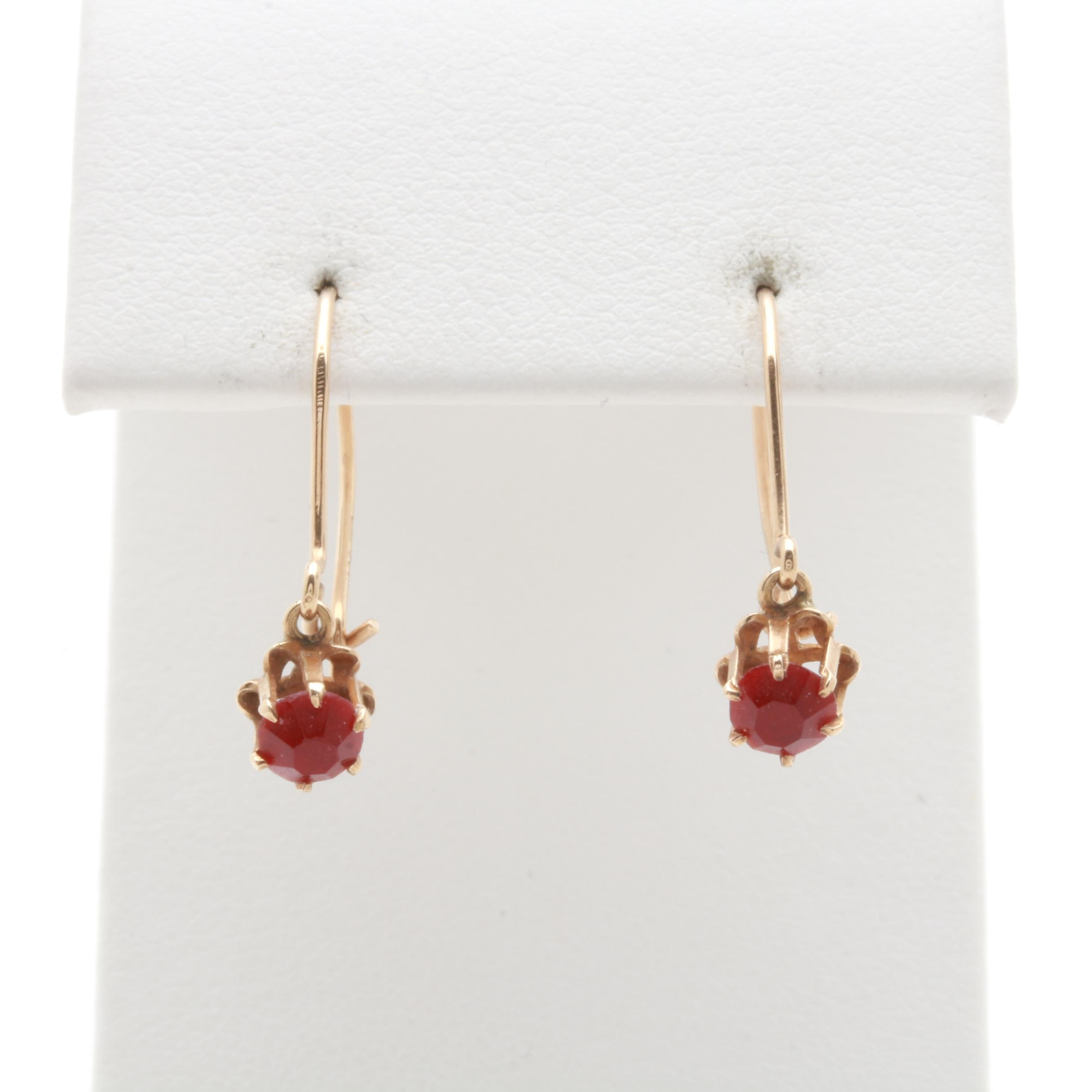 10K Yellow Gold Red Glass Earrings